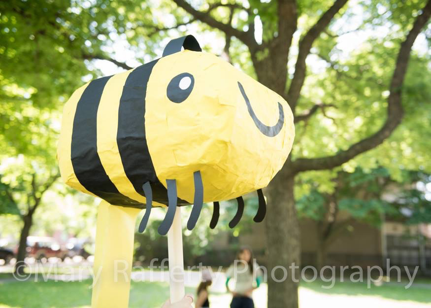 paper mache bee for 606 opening