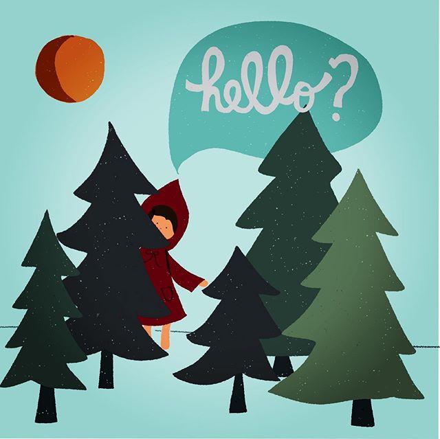 Hello? #lostinthewoods #trees #forestart #illustration #hello #helloart