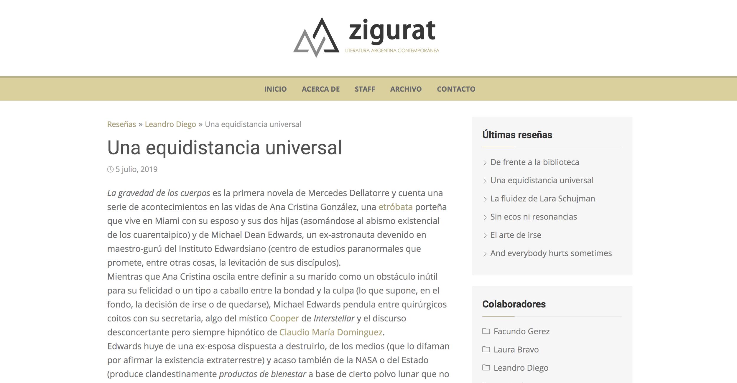 Reseña en Zigurat - La gravedad de los cuerpos