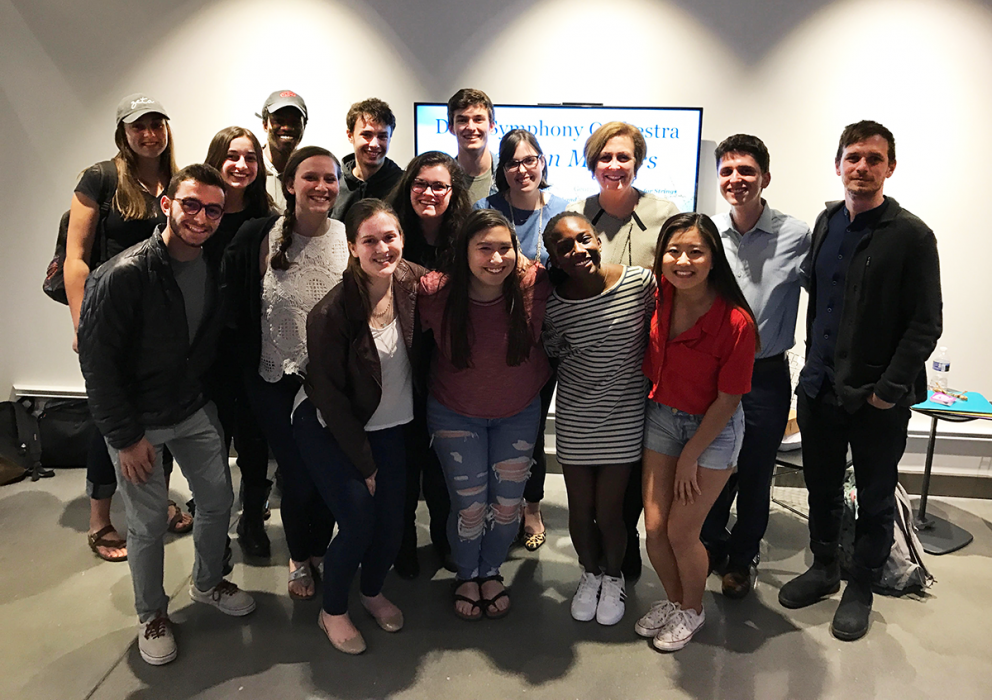 Deborah Rutter (third from the right in the back row), President of the Kennedy Center for the Performing Arts in Washington, DC, with Eric and his students in Introduction to Performing Arts Management & Entrepreneurship.