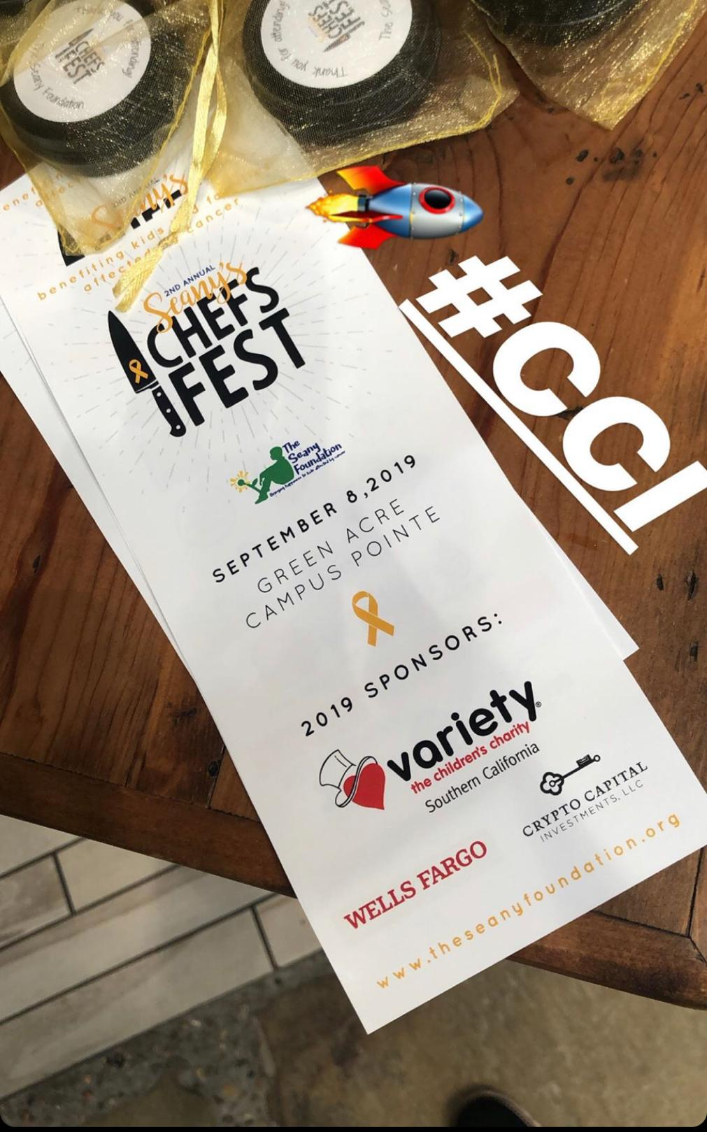 Crypto Capital Investments Sponsors Seany Foundation's Chefs Fest
