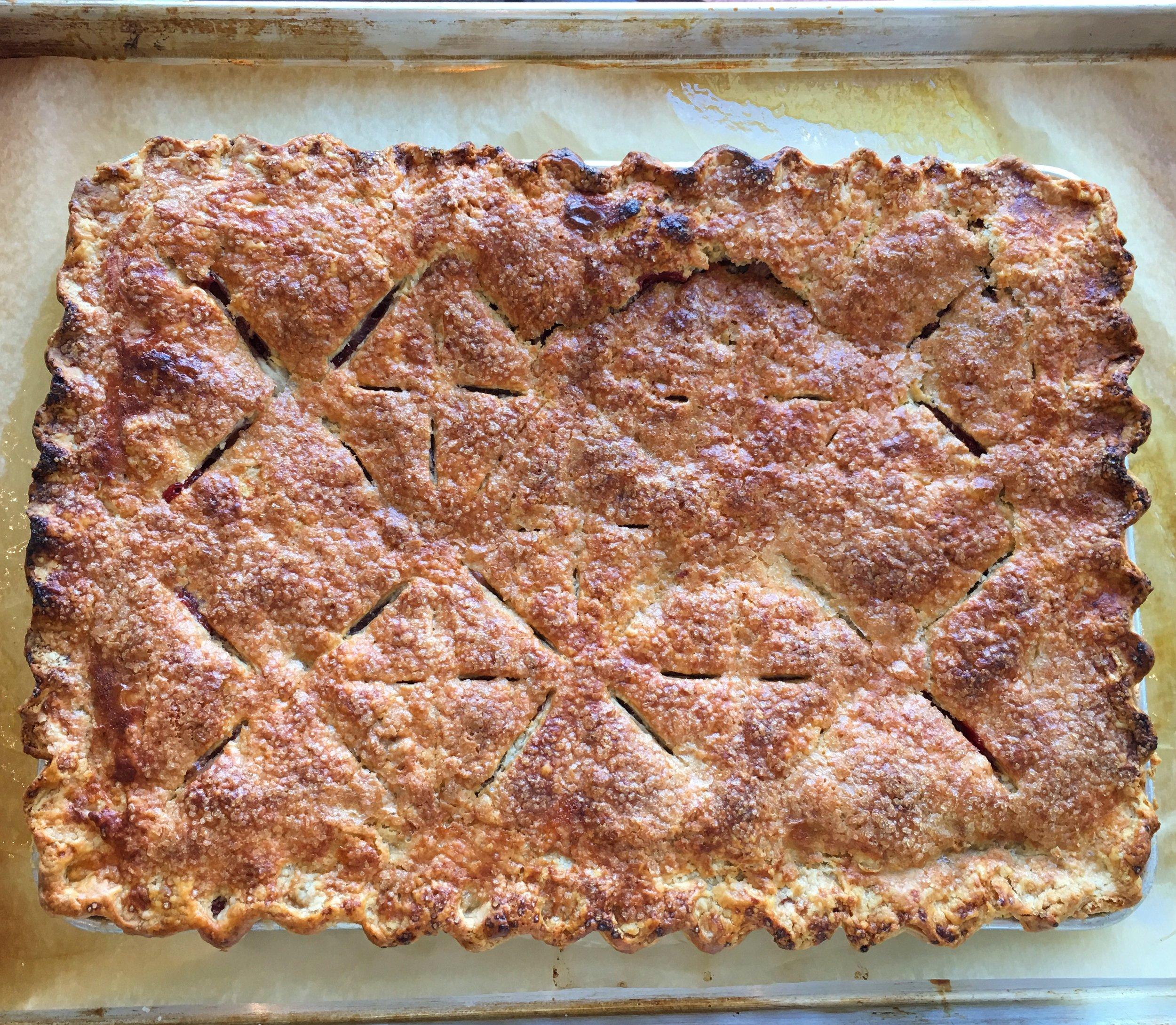 GIGANTIC 13x18 strawberry-rhubarb pie!