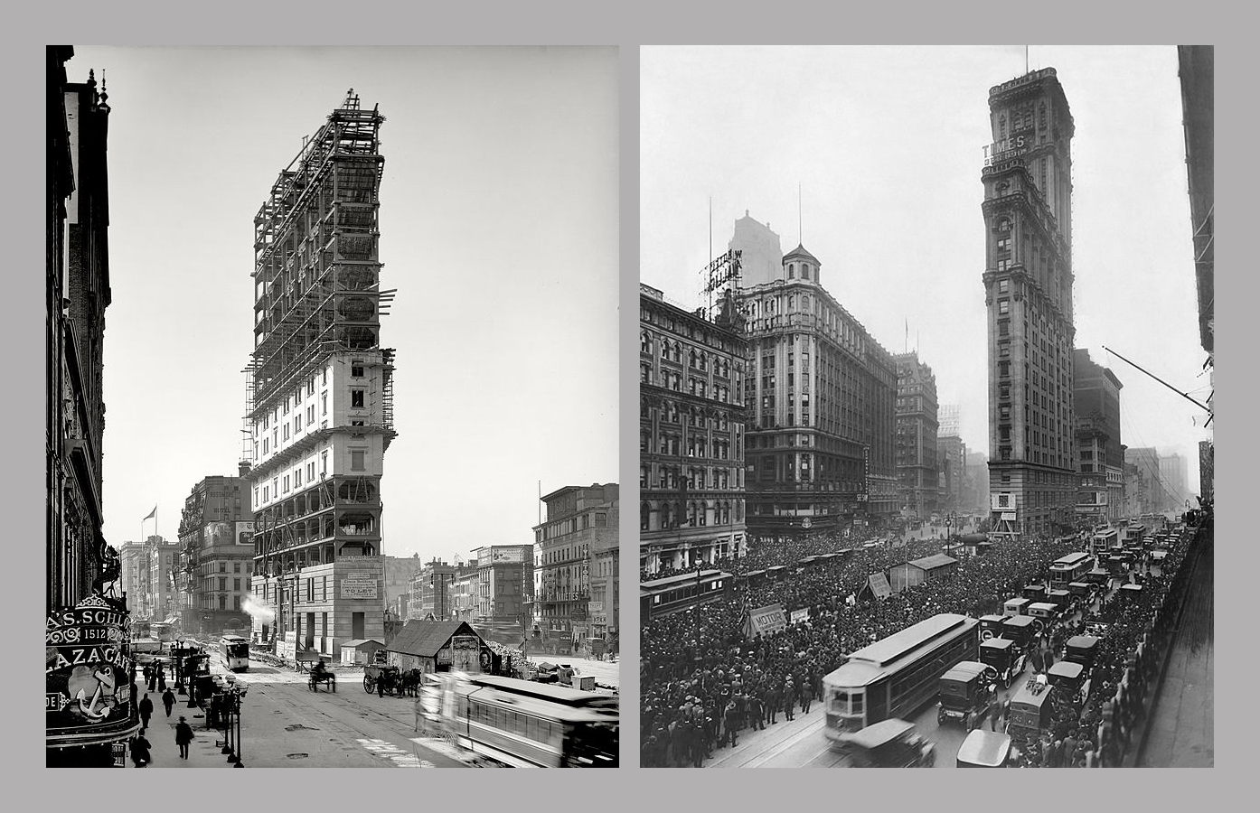 The Times Building, One Times Square (1475 Broadway) during and after construction.