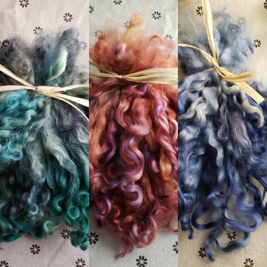 Doris washed and dyed lock bundles