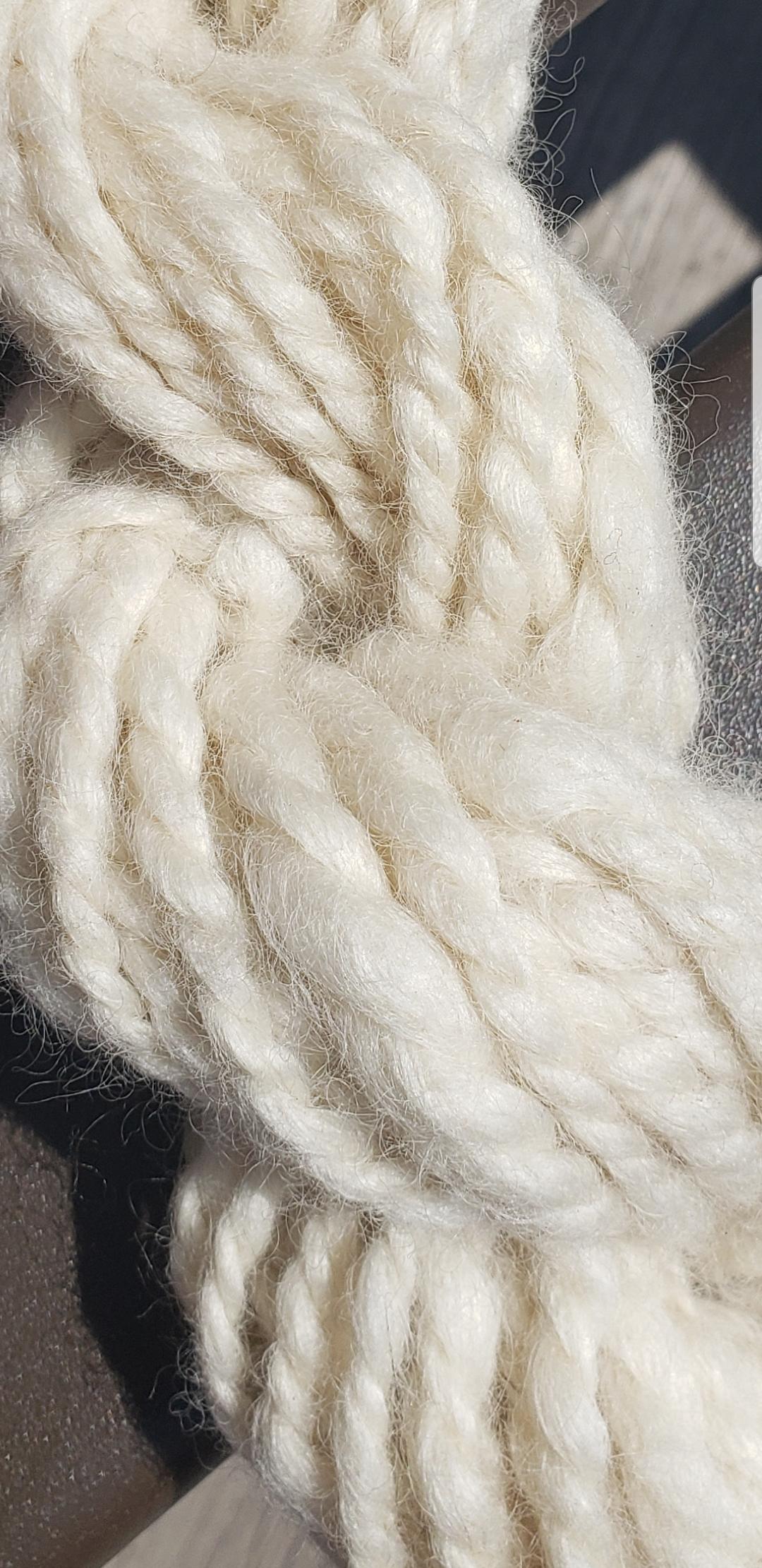 Leicester Longwool yarn in full sun to display lustre