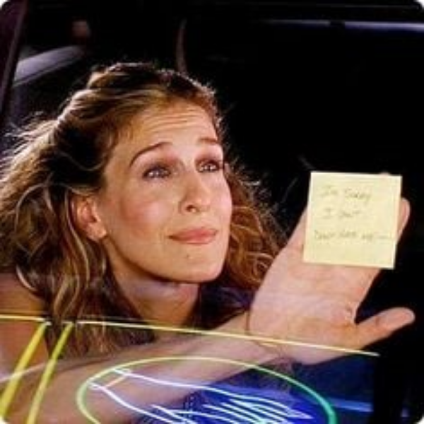Burger broke up with Carrie on a sticky-note. This says a lot more about him then it does her. If you have ever found yourself on receiving end of similar transaction, consider what this says about them, not you!
