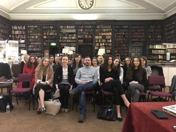 Year 12 and 13 English Literature students with T S Eliot-prize-winning poet Jacob Polley at The Portico Library.