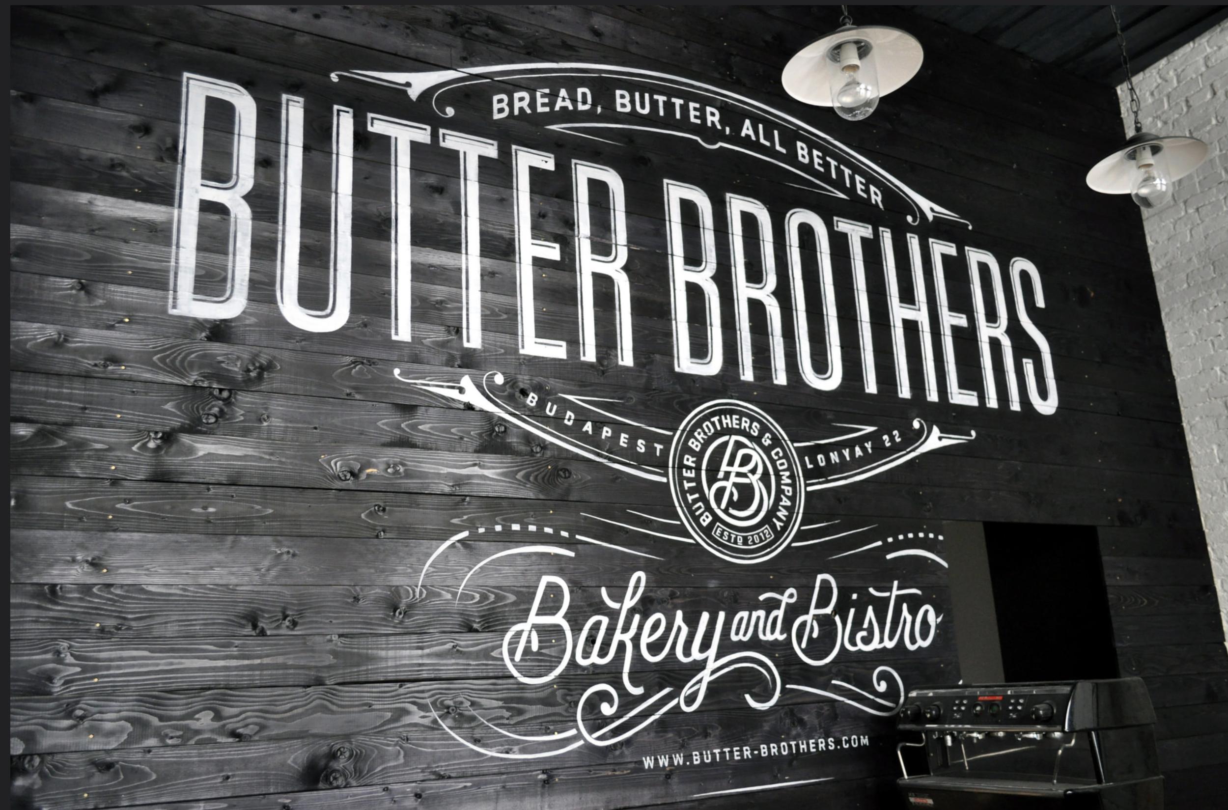 BUTTER BROTHERS  - PÉKSÉG és TEJBOLT- beltéri dekorációs festés ,cégtábla és portálfelíratok /Terv:  Pretty/Ugly Design-Ben Didier / festés :  www.vertigomurals.com