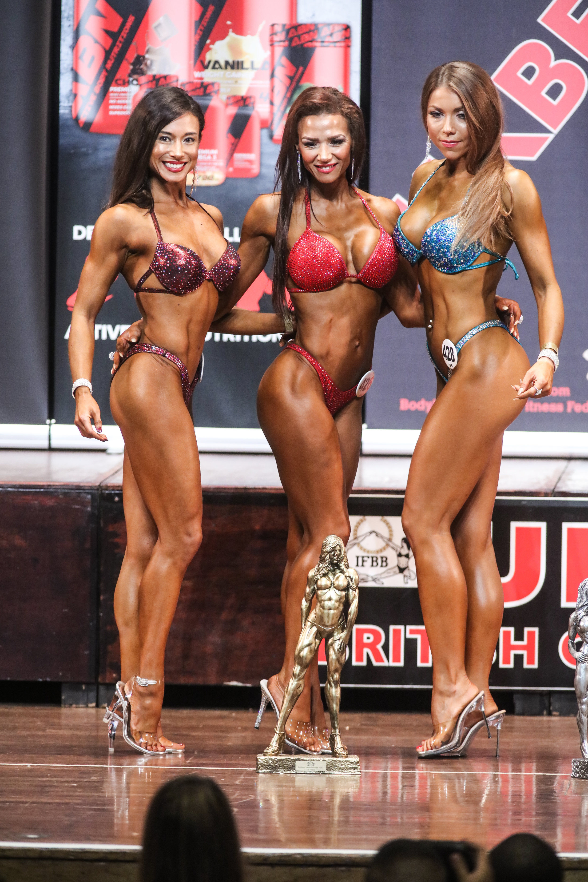The top three in masters bikini fitness at last year's British Championships line up for photos. PHOTO: Christopher Bailey