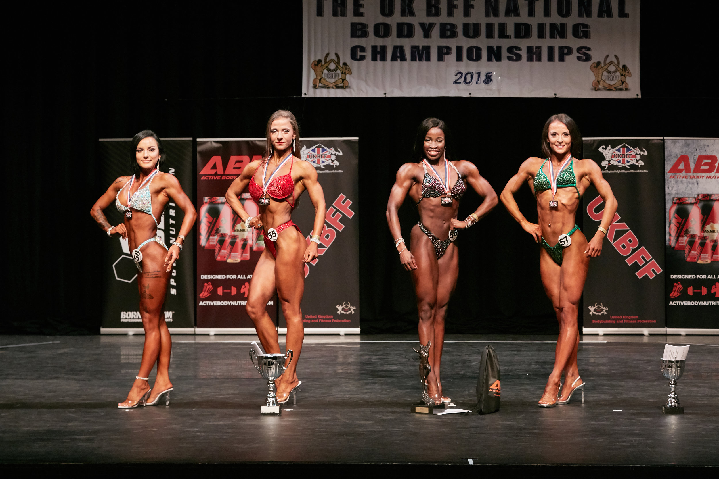 Rhea Gayle (second from right) wins bodyfitness. PHOTO: Christopher Bailey