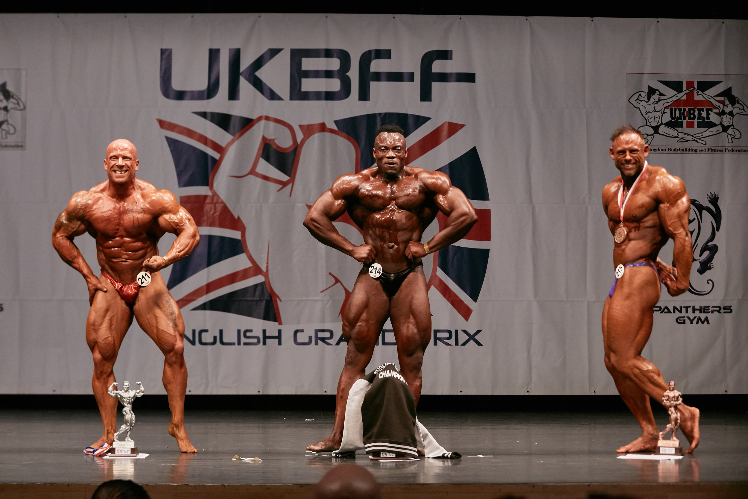 Top three in the over 90 kg bodybuilding. PHOTO: Christopher Bailey