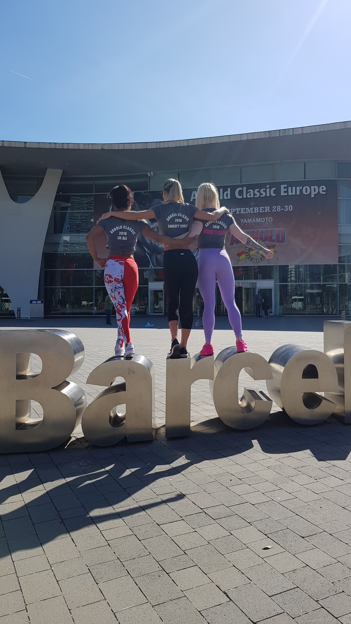 Team UKBFF athletes Alison Fernandes (left), Becky Goodall (centre) and Mel Maguire have fun at the venue,