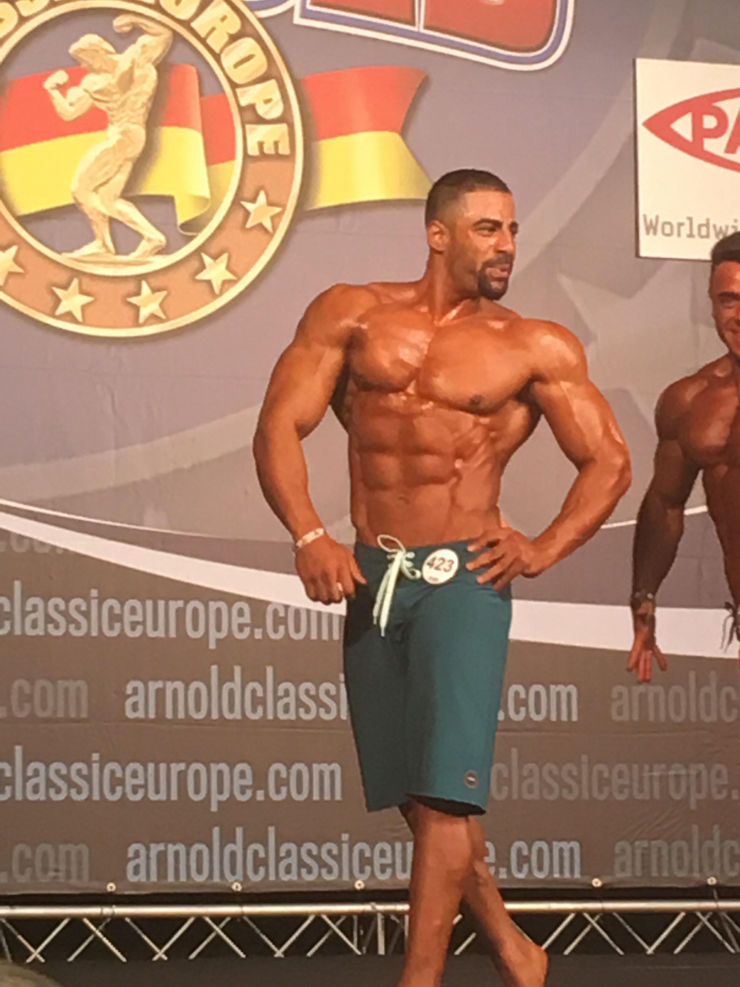 Mahmoud Elmawardy on his way to bronze in muscular men's physique.