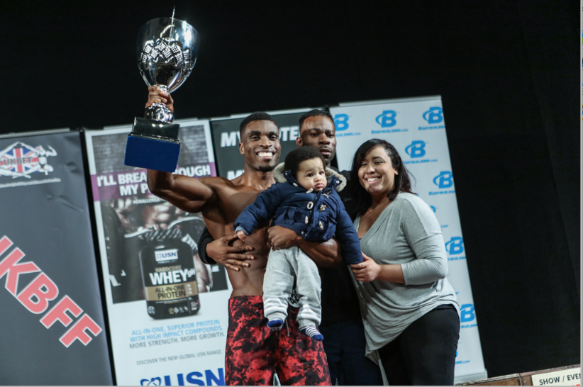 Family affair: Abies Nosa celebrates after winning men's physique in 2016. PHOTO: Christopher Bailey