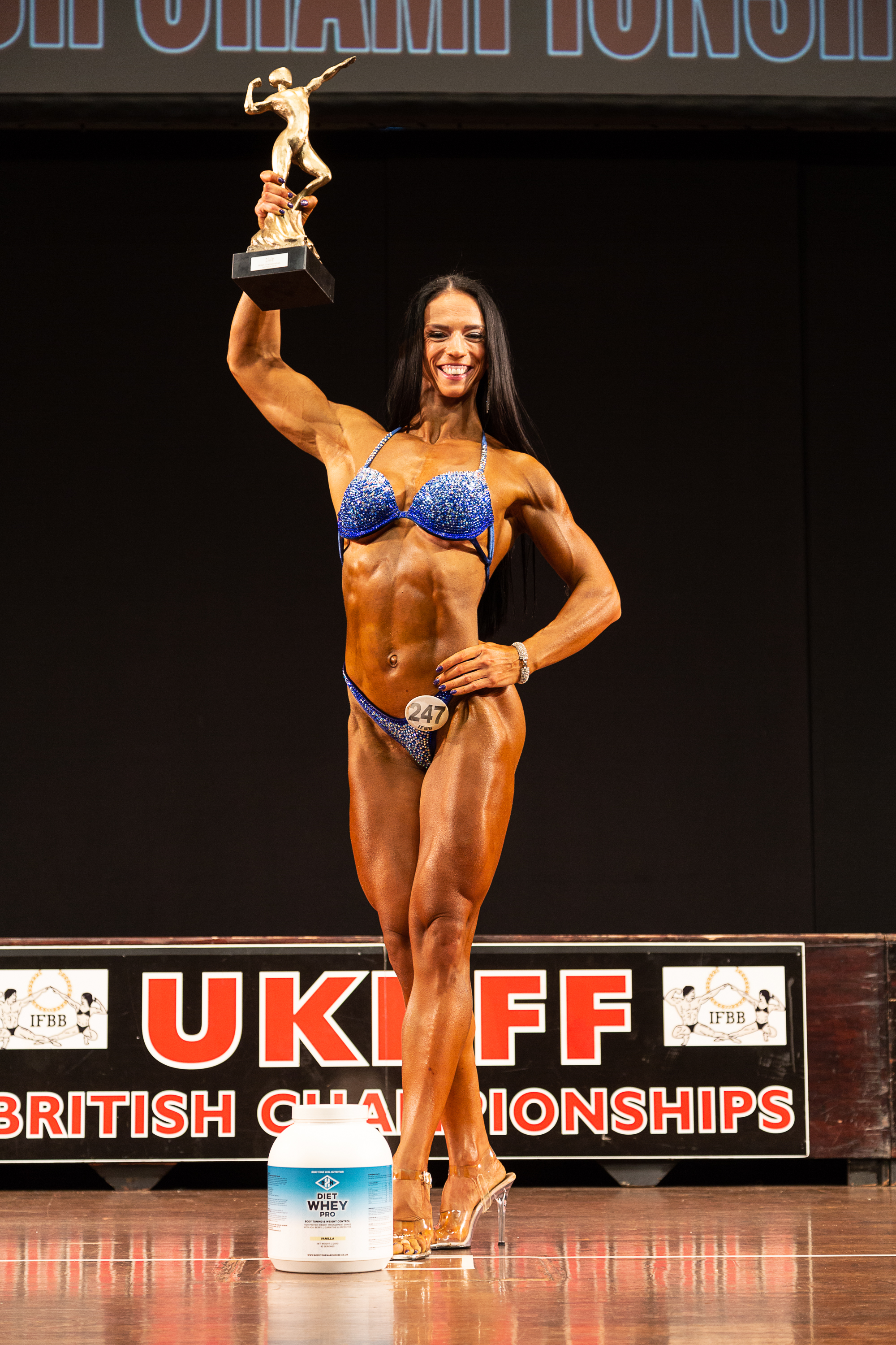 Olga Upelniece, seen here winning masters bodyfitness at the British Championships, has also had a memorable year that included top six at the Arnold Classic Europe. PIC CREDT: Kevin Horton