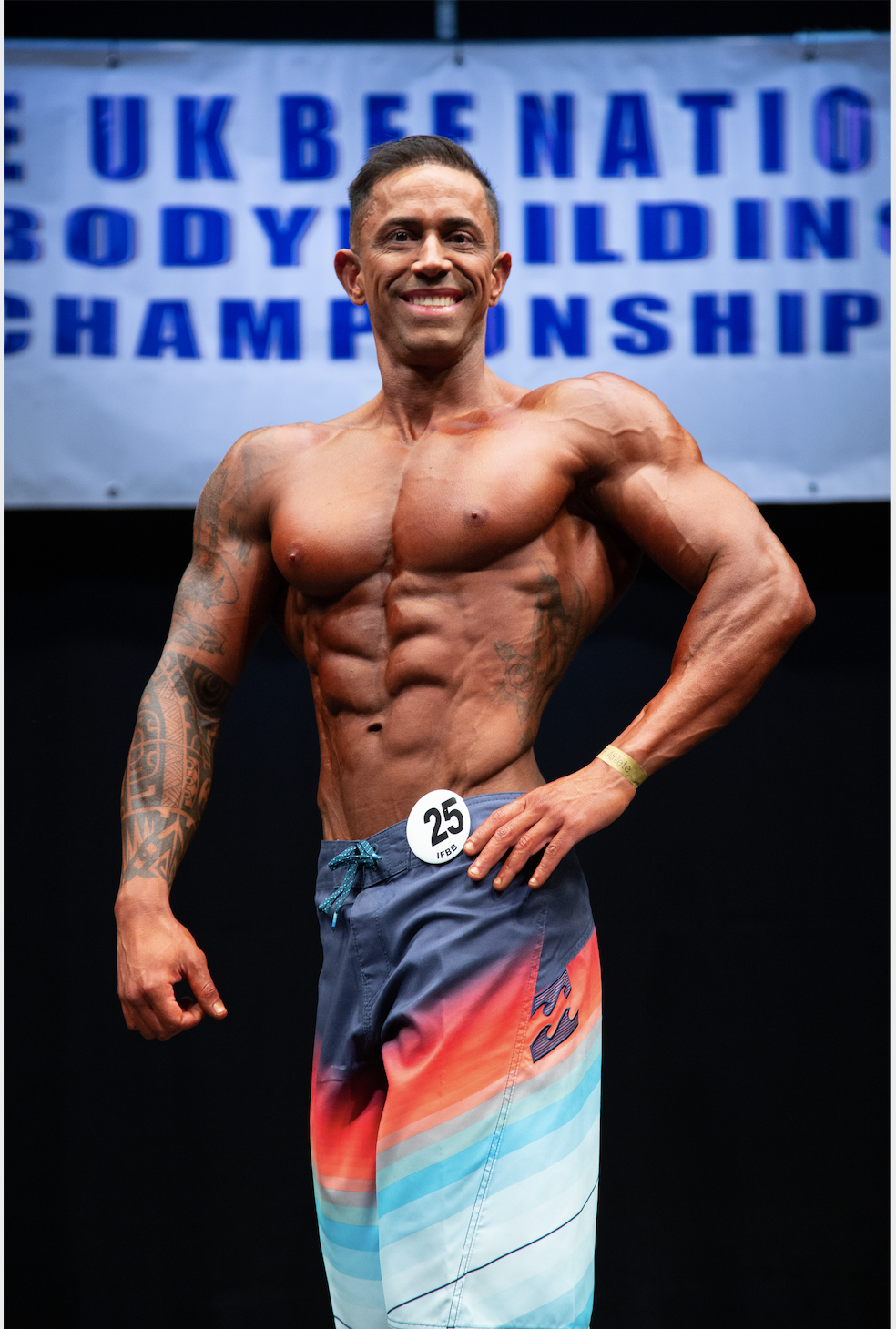 Francesco Roche, who won his height class and the masters class in men's physique.