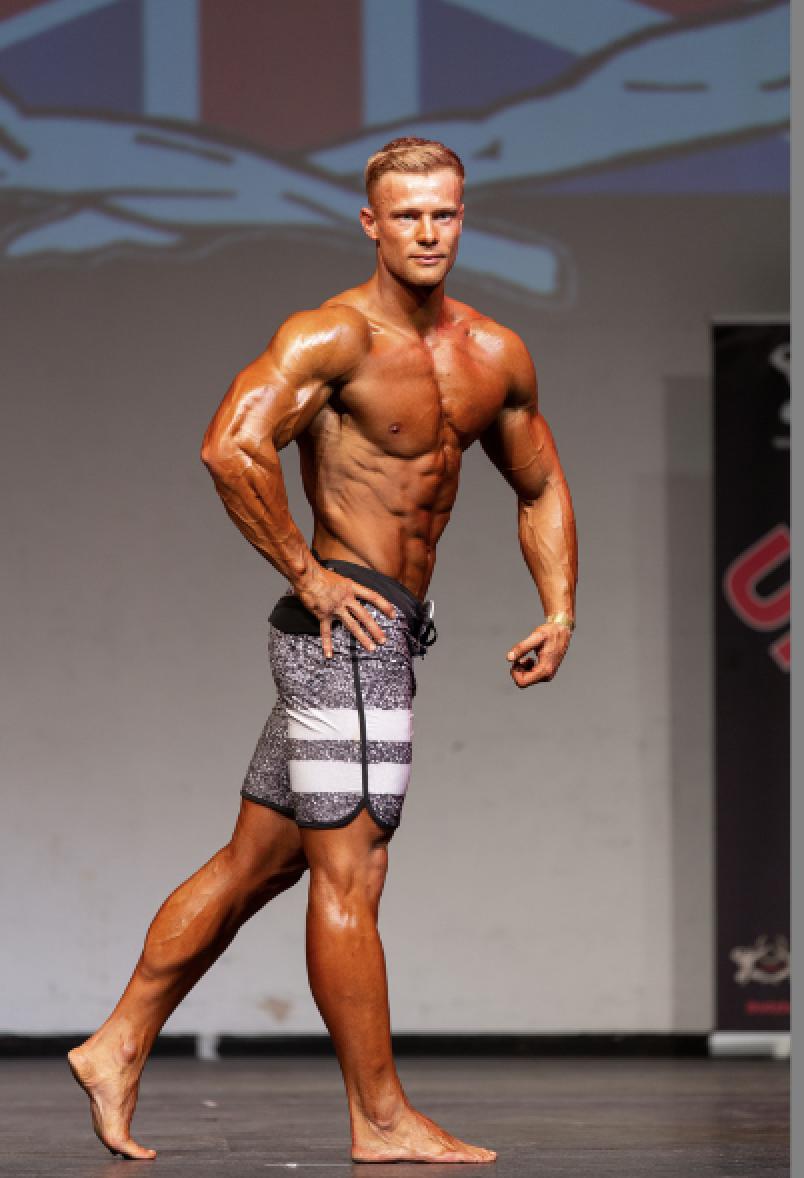 Harley Judge got the verdict in muscular men's physique.