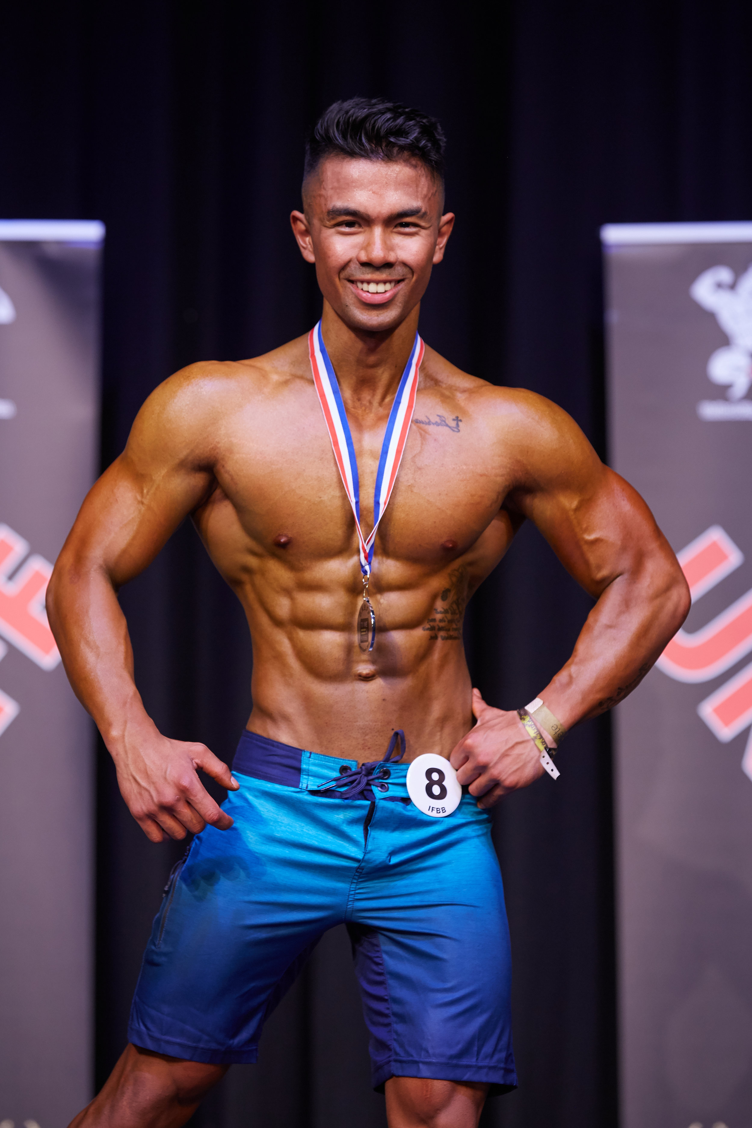 Justin Makil won the juniors and his height class in men's physique.