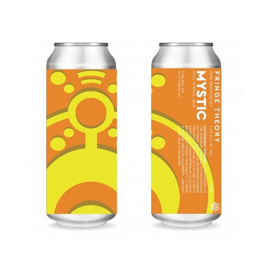 We feel like we wouldn't be Mystic if we didn't throw you a curve ball every once in a while. So without further ado, we bring you Fringe Theory, a Sour Farmhouse Ale. We start off by brewing a higher abv. Saison. While fermenting we add a blend of Citric and Lactic acid to bring a tart presence to this beer that is complimented by the phenolic character of the yeast. When drinking this beer notes of orange zest, a light pepper quality, a hint of bubblegum, and a tart finish, will DANCE all over your palate. Available Tomorrow. 7% abv. $14/4pk.