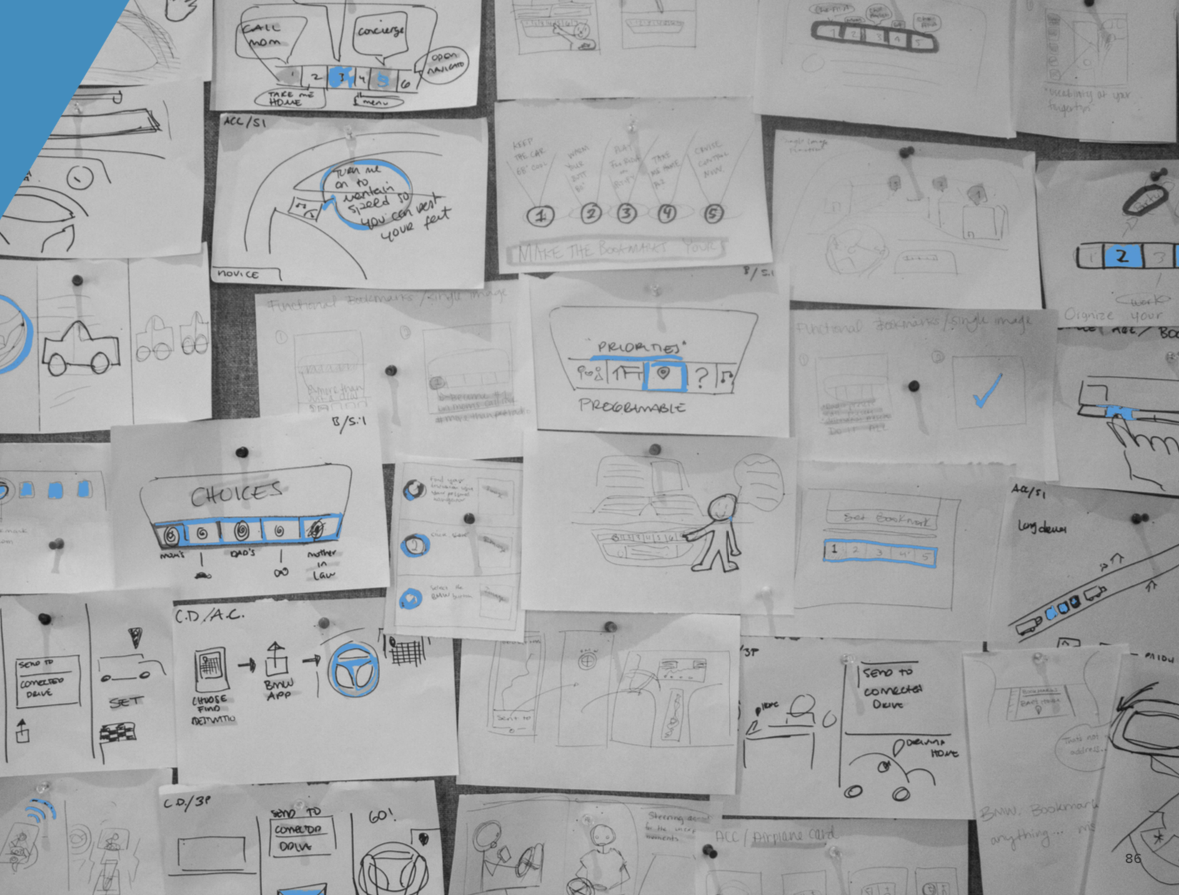 We differentiate ways to access a feature and then combined similar ideas to produce stronger concepts. We pushed ourselves to produce more rapid sketching and challenged our initial assumptions.