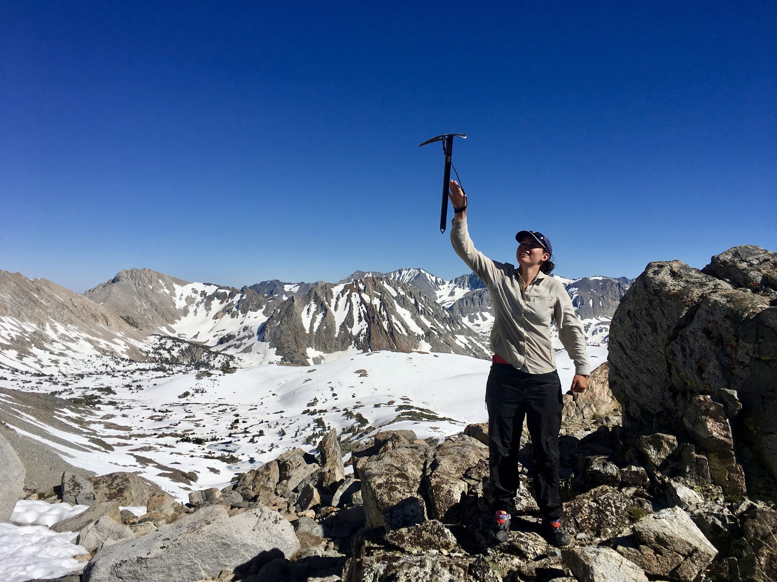 Me and  my trusty ice axe  at the top of Pinchot Pass celebrating another successful climb.