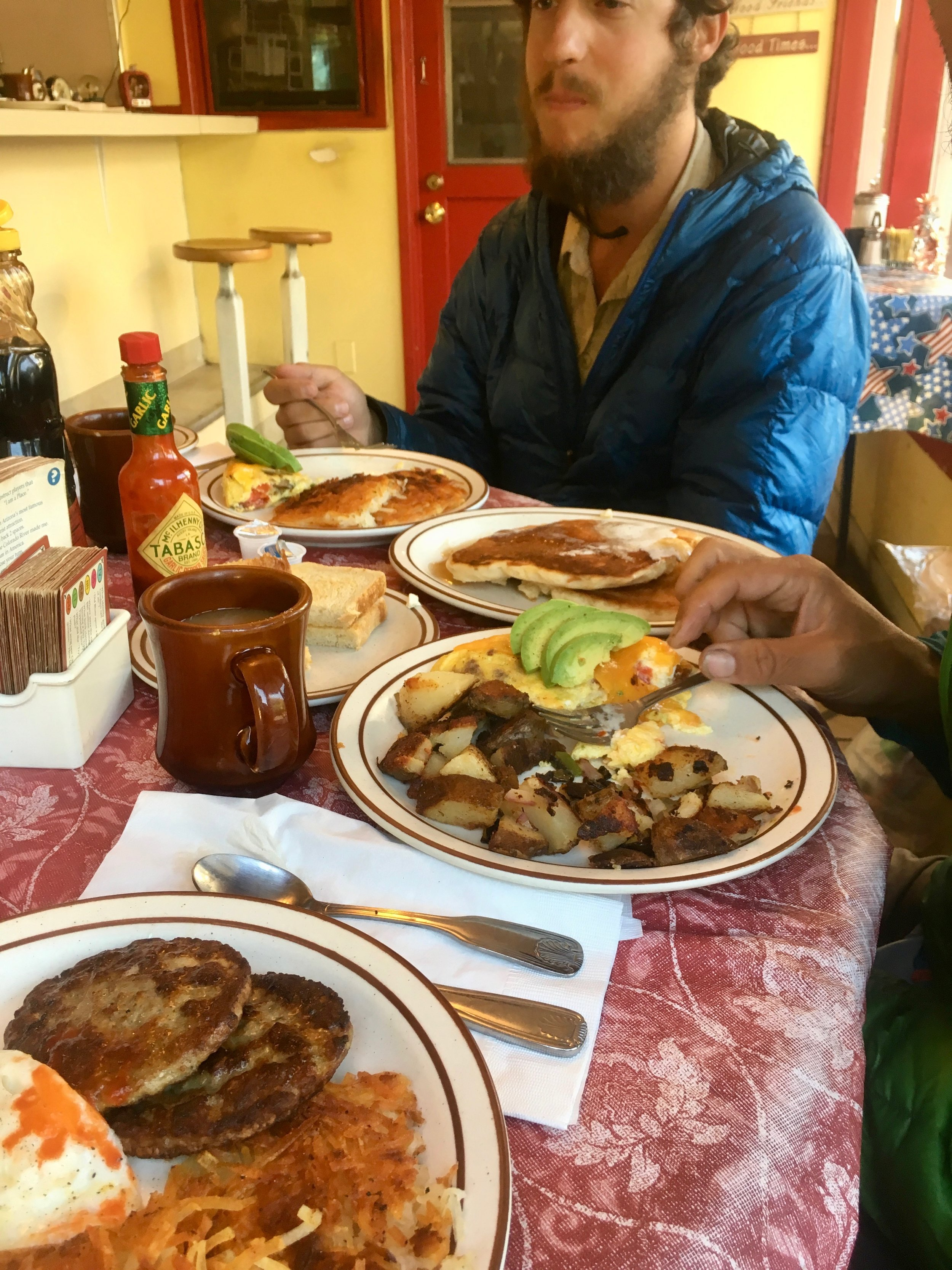 Breakfast in Seiad Valley, CA. The climb out of this town is insane, so it's good to fuel up here. They have a 5lb pancake challenge for anyone interested. Not for the faint of heart.