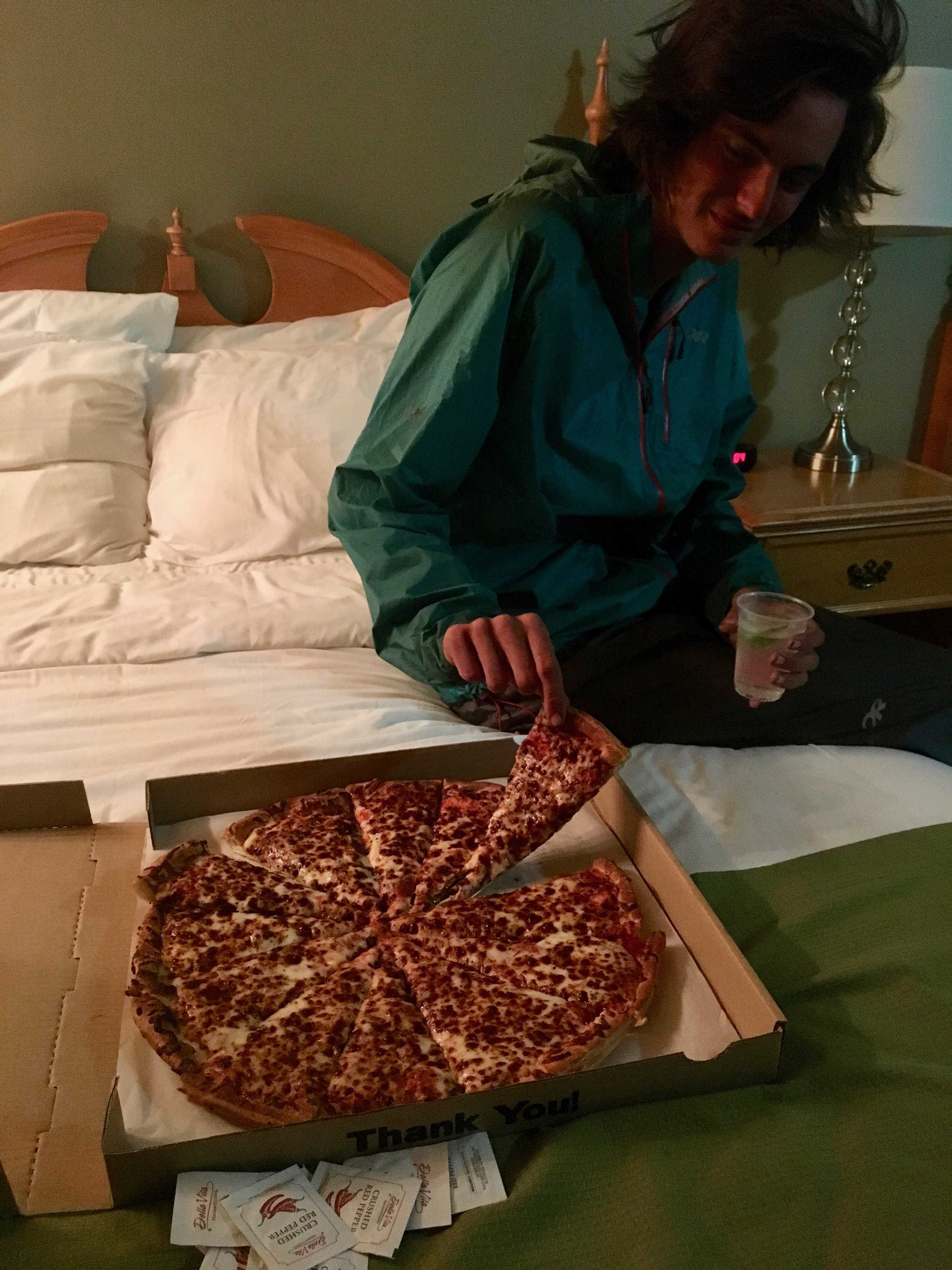 Splurged in Leavenworth, WA with a very large pizza with gin & tonics we made in our hotel room.