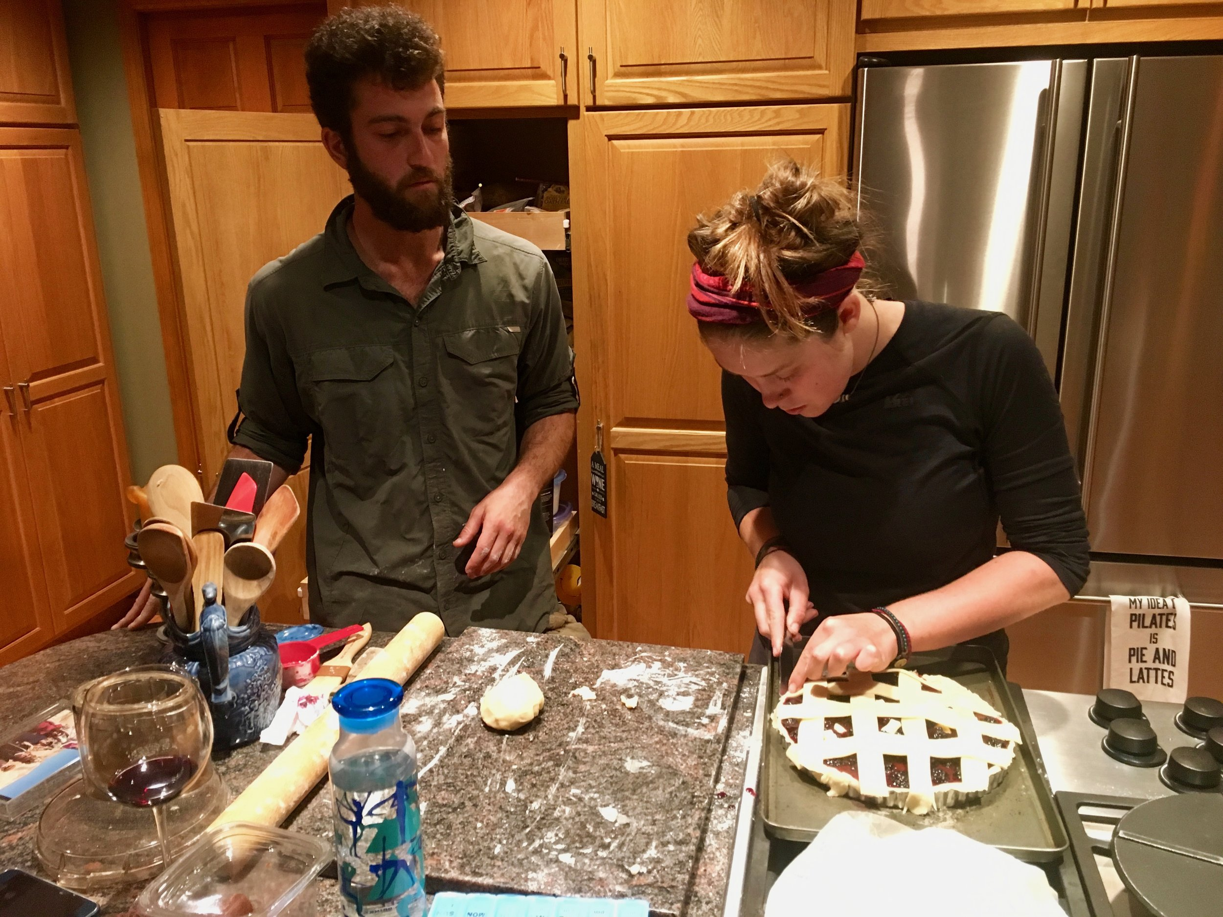 We liked to cook and bake whenever we had the opportunity in town. This is Indigo and Yoav baking a blackberry pie in Redmond, WA.