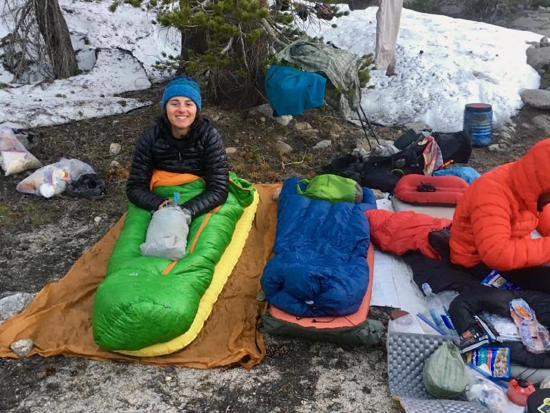 Cowboy camping at Arrowhead Lake. Indigo said  my sleeping bag  made me look like a caterpillar.