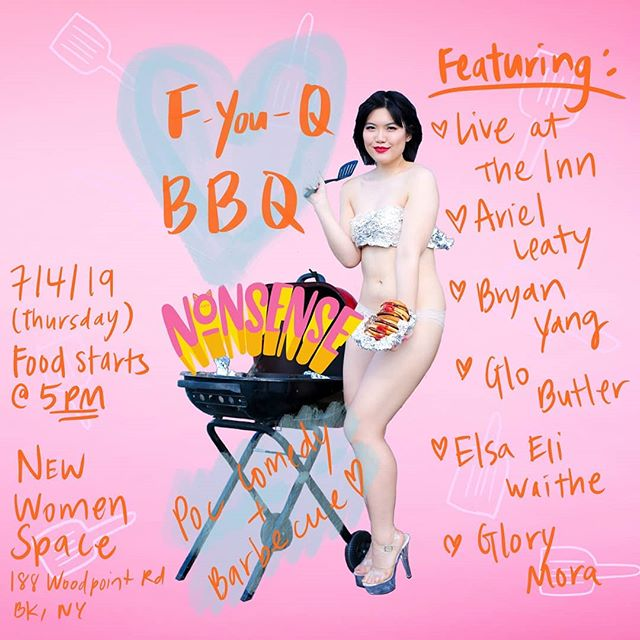 Wowowow this show is going to be so 🔥🔥🔥 with literal fire! We're gonna have a BBQ comedy show. Laugh! Be fed! Celebrate inclusive freedom!