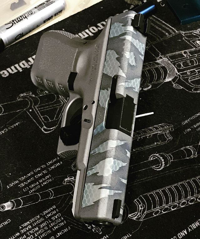Just finished this blue and silver panel RipTile Cerakote job on this Glock 19! @sublime_modifications #sublimemodifications #sublimemodificationsrocks #cerakote #cerakotecertified #cerakotelove #cerakotemafia #riptile