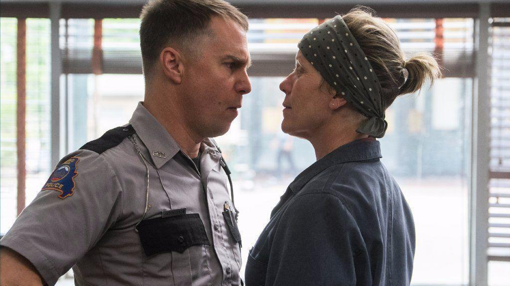 Mildred Hayes (Dormand) squares up to Officer Dixon (Rockwell),  Three Billboards Outside Ebbing Misouri