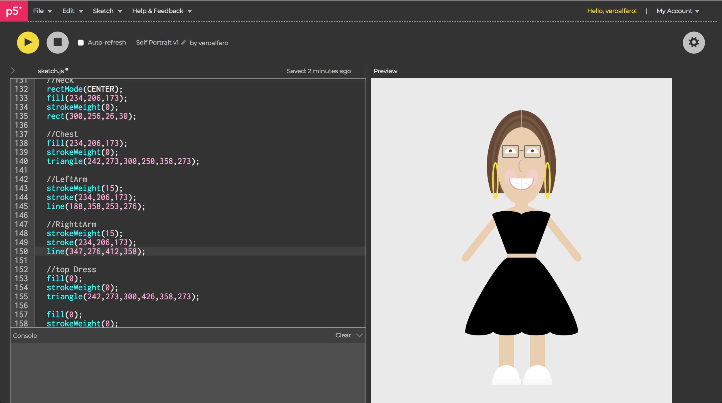 Full body developed in code.