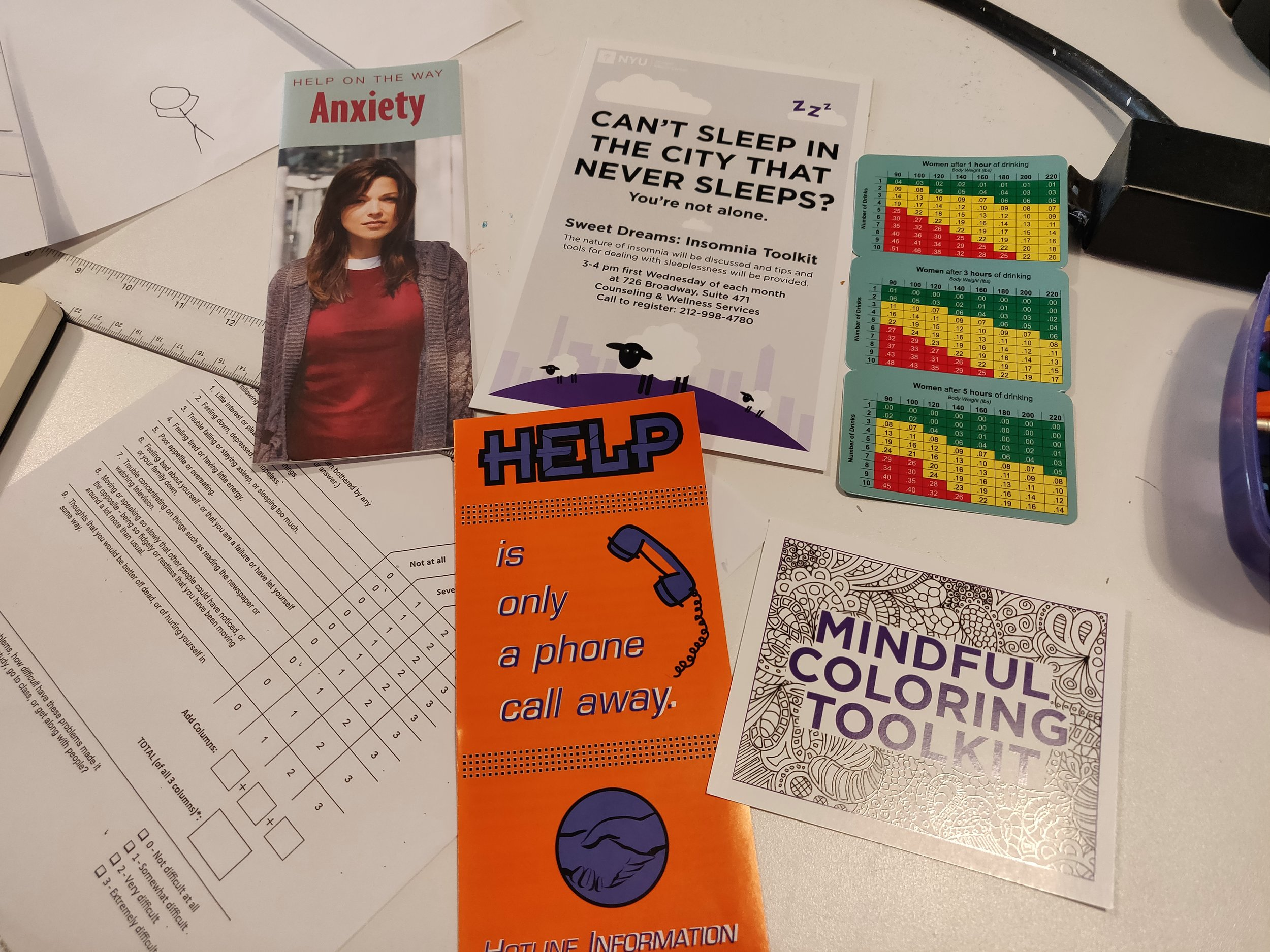 Forms and brochures provided by the counseling office at Tisch