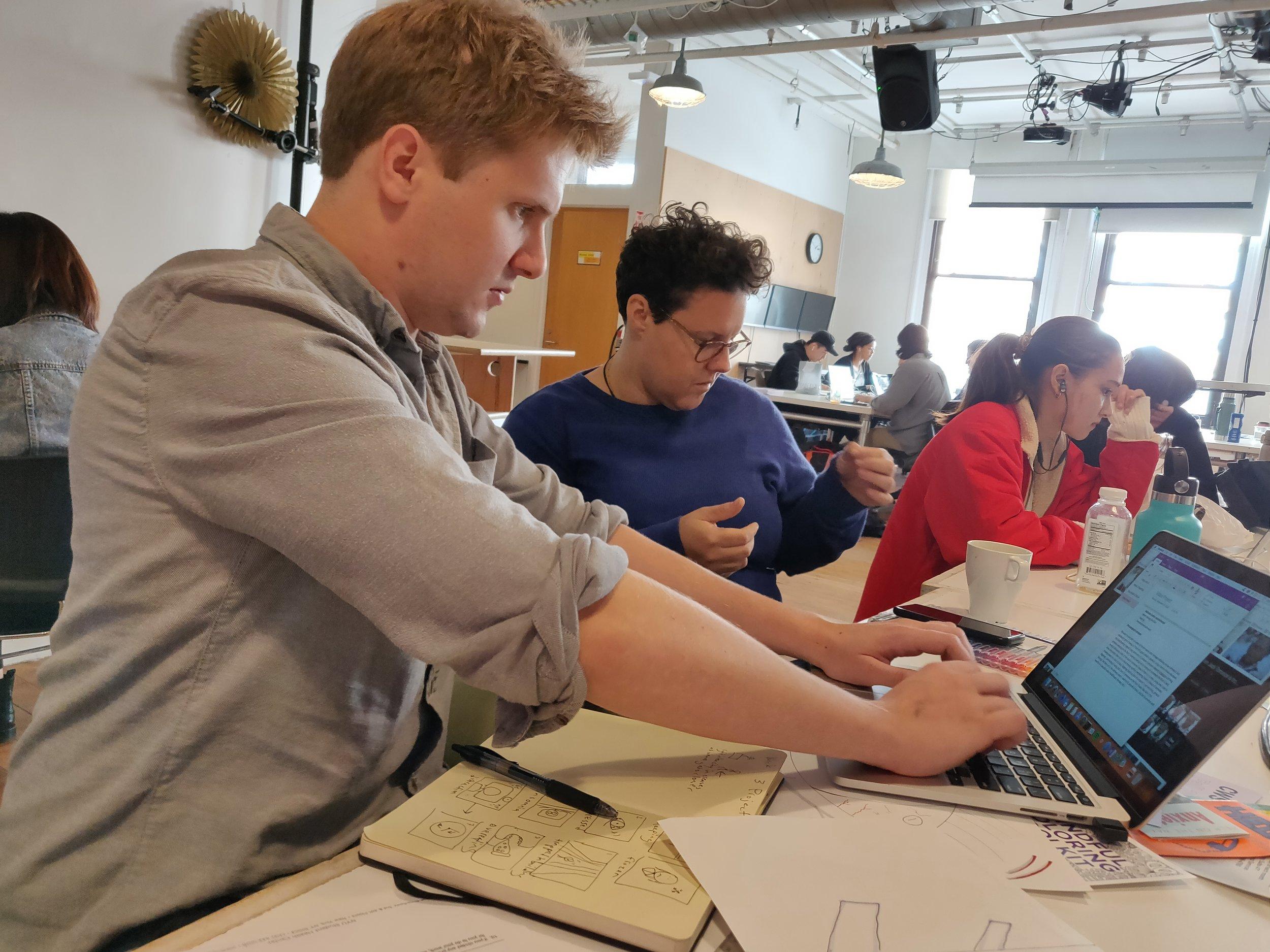 Team Work generating the storyboard.