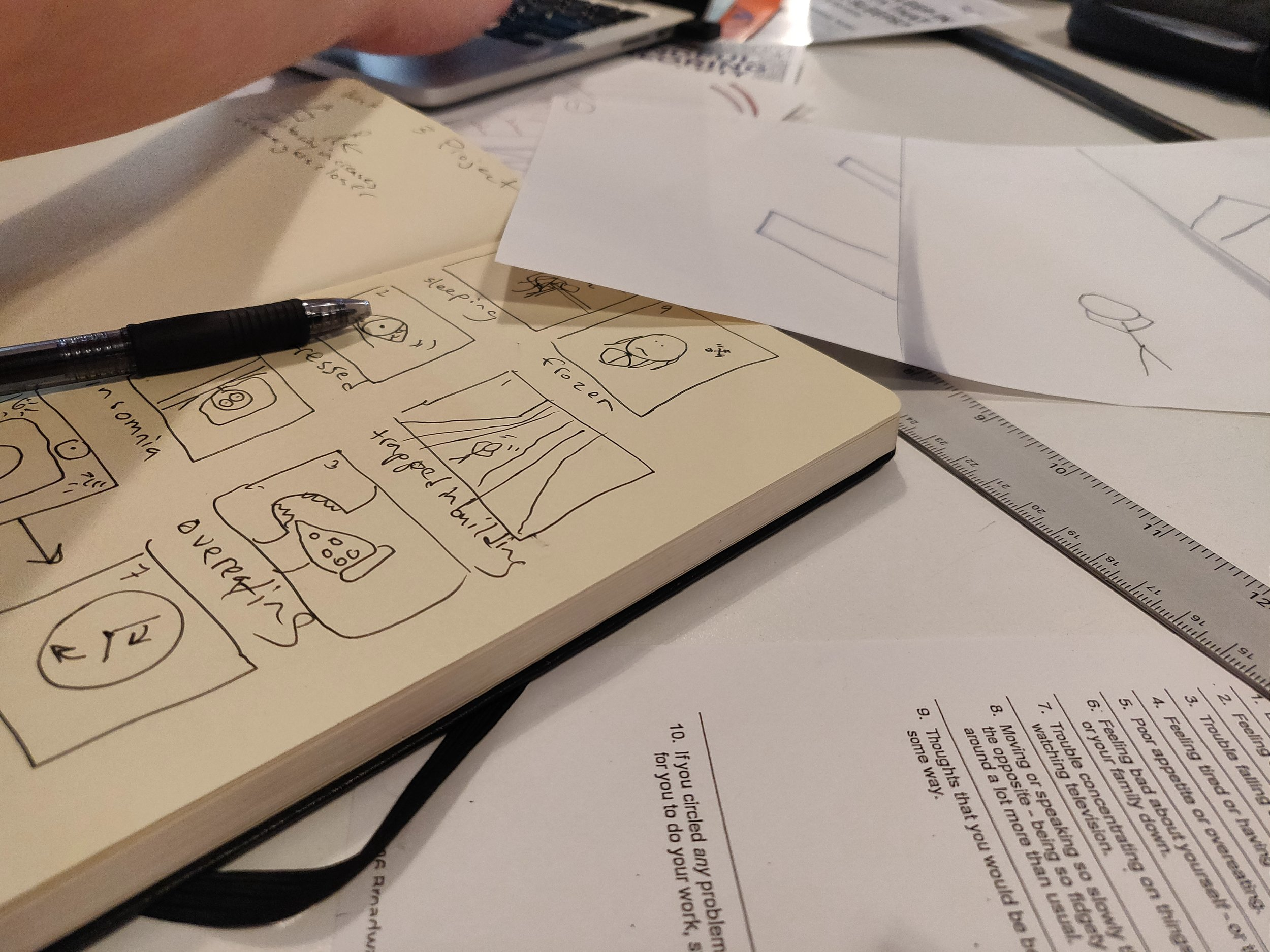 Low fidelity storyboarding using the form as a guide for our scenes