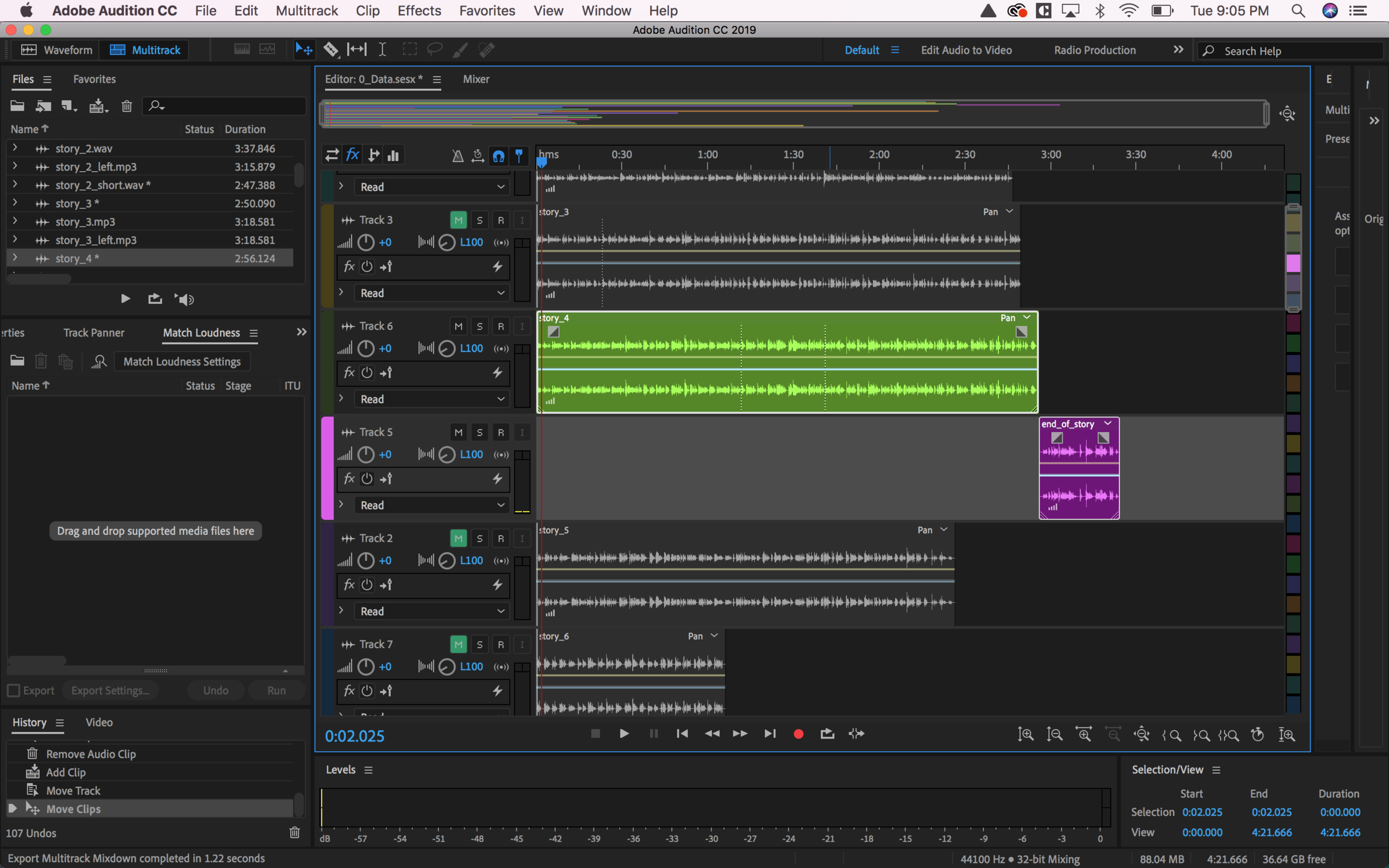 Editing sound in Adobe Audition