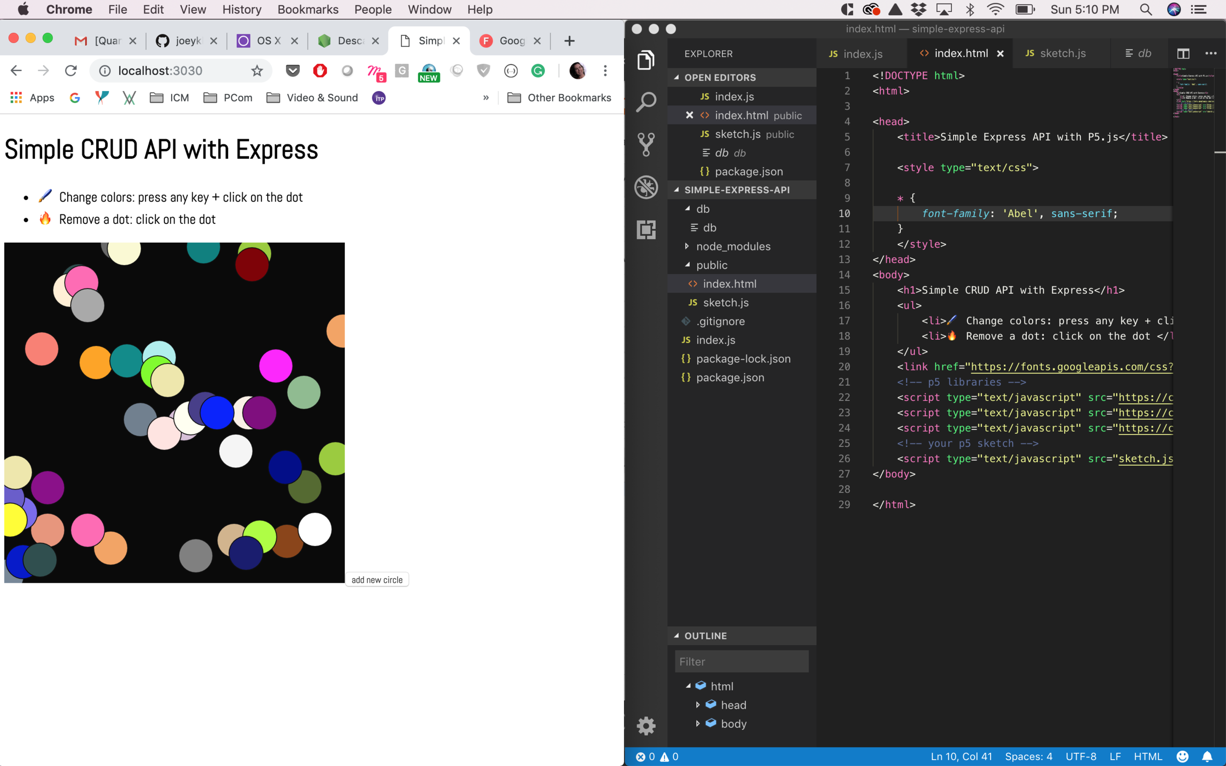 Running the p5.js sketch