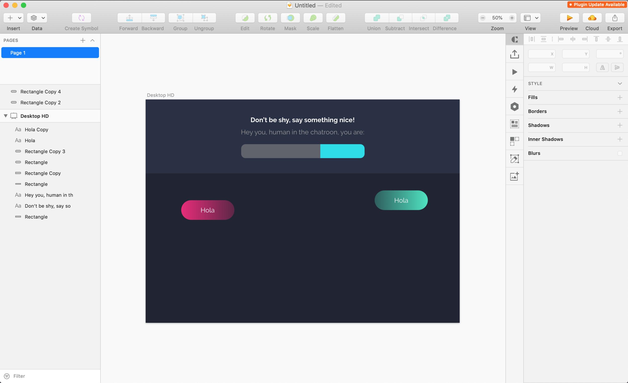 Design process using Sketch