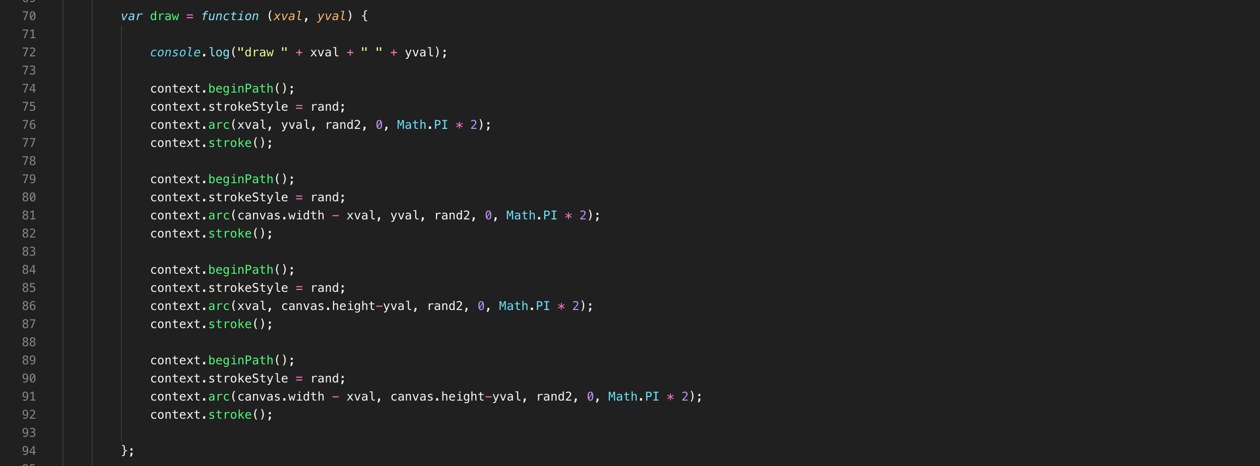 Code for Quadrants