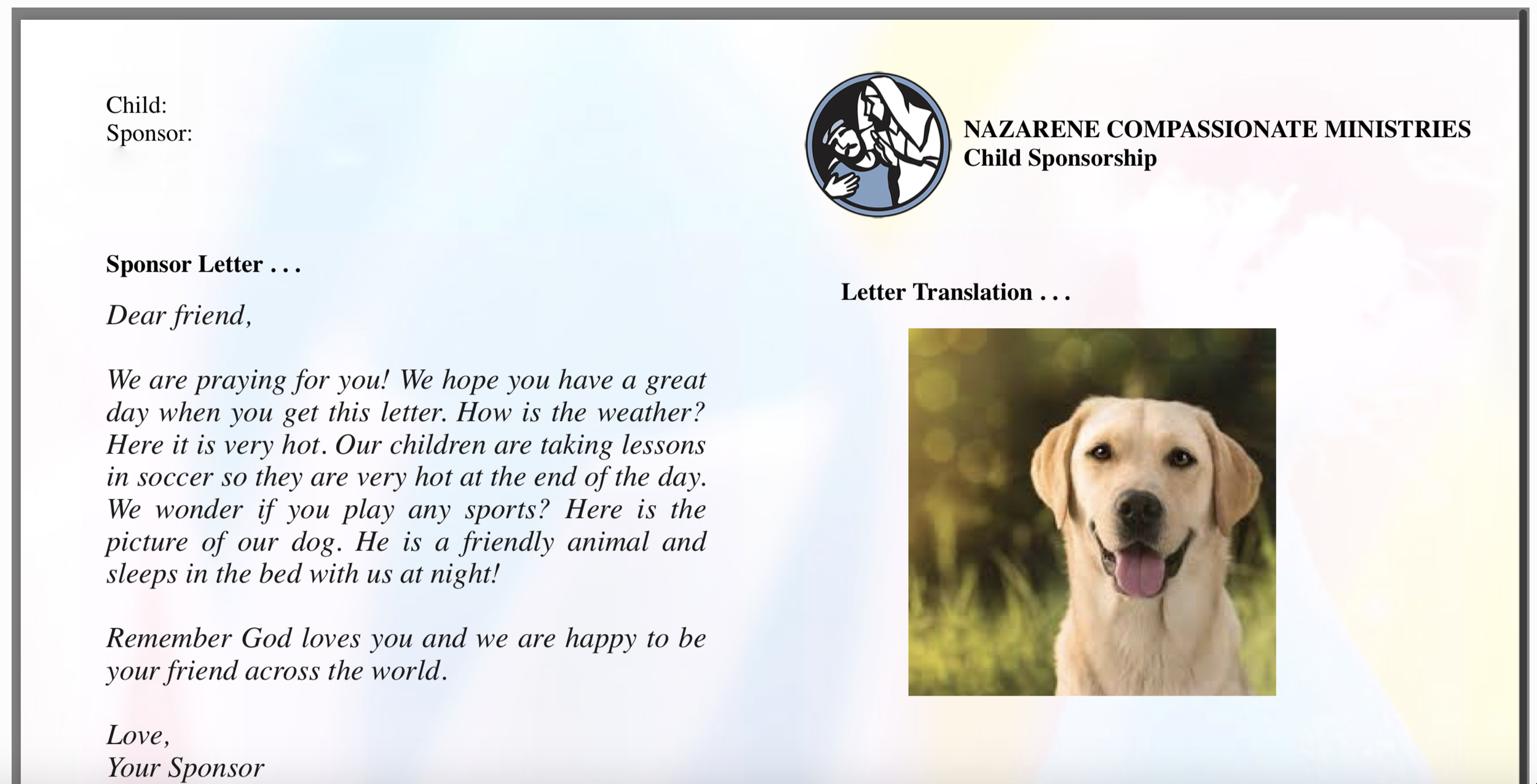 A sample of what your letter will look like! -