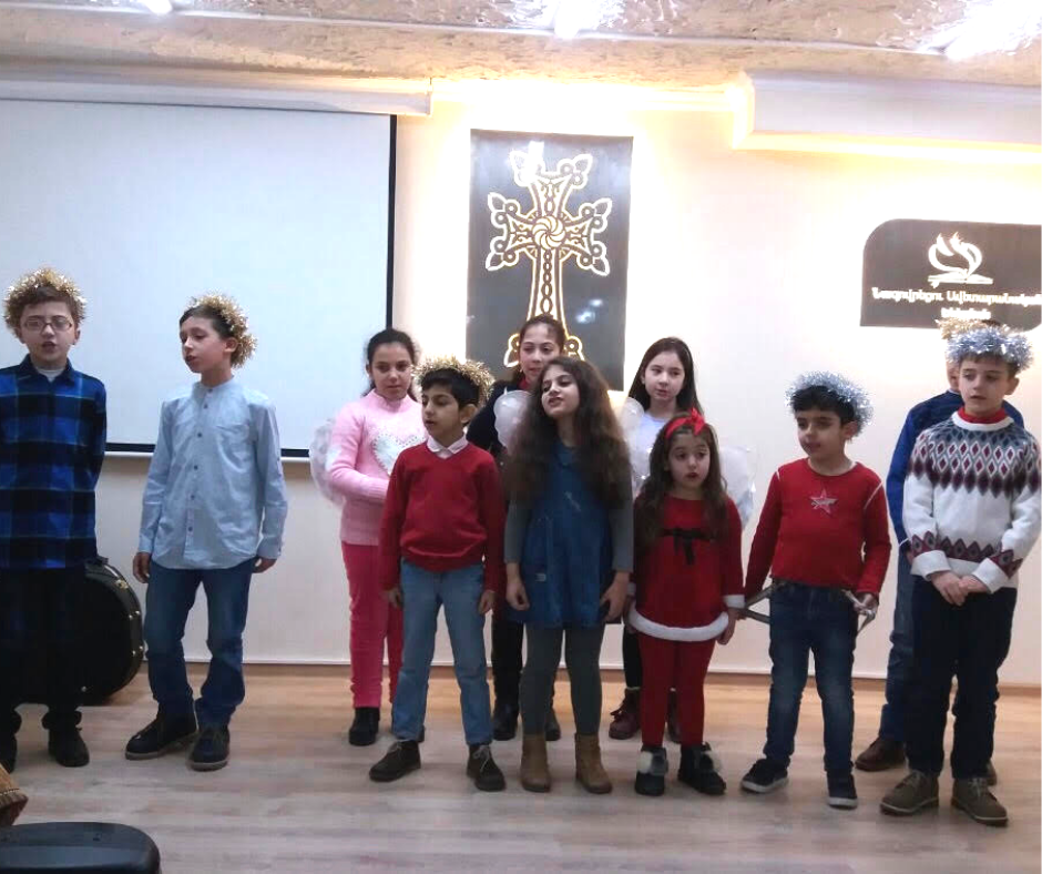 Children sing in a Christmas program at the Church of the Nazarene in Yerevan, Armenia