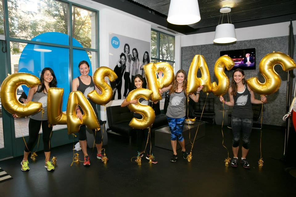 The ClassPass team at Flywheel cycling studio during one of three Chicago launch events
