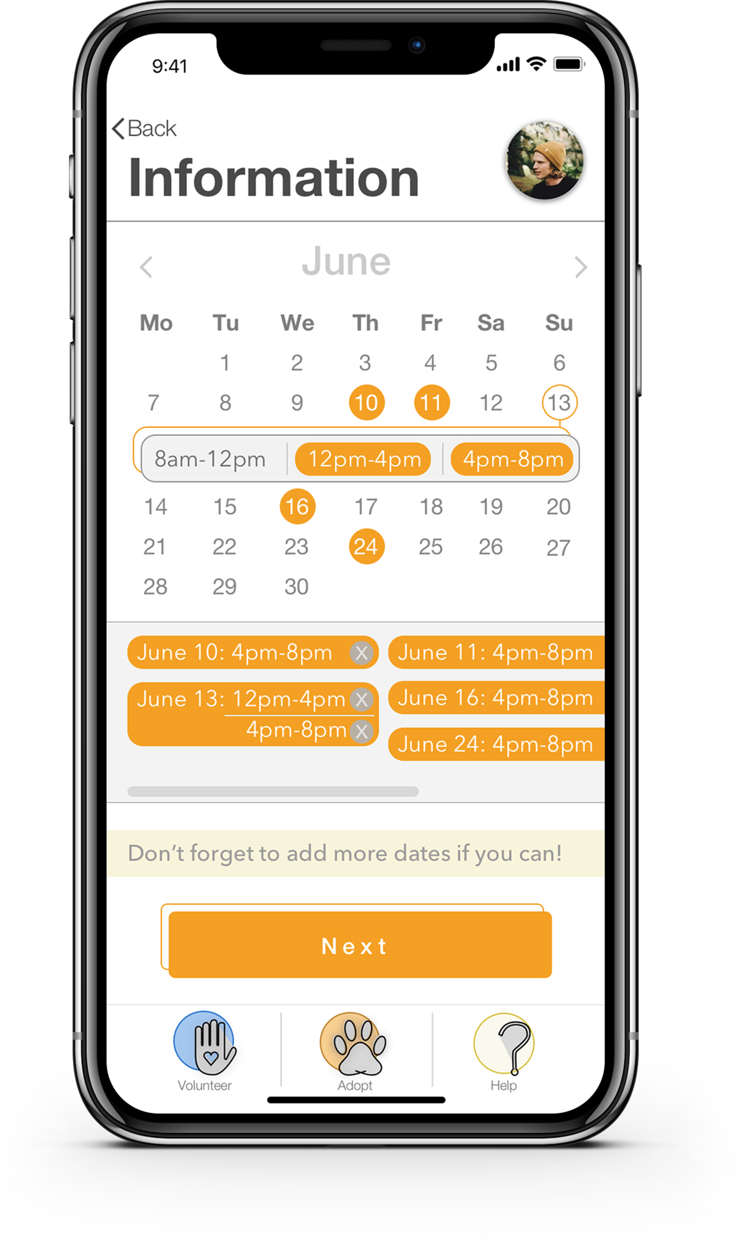 The calendar is central to the design of inu. With this design, I aim to start the process of  standardizing volunteer times . If a user can select their availability in advance, the shelter must then select from that availability.  This can take some of the complexity out of the current method  of finding shelter volunteer opportunities.