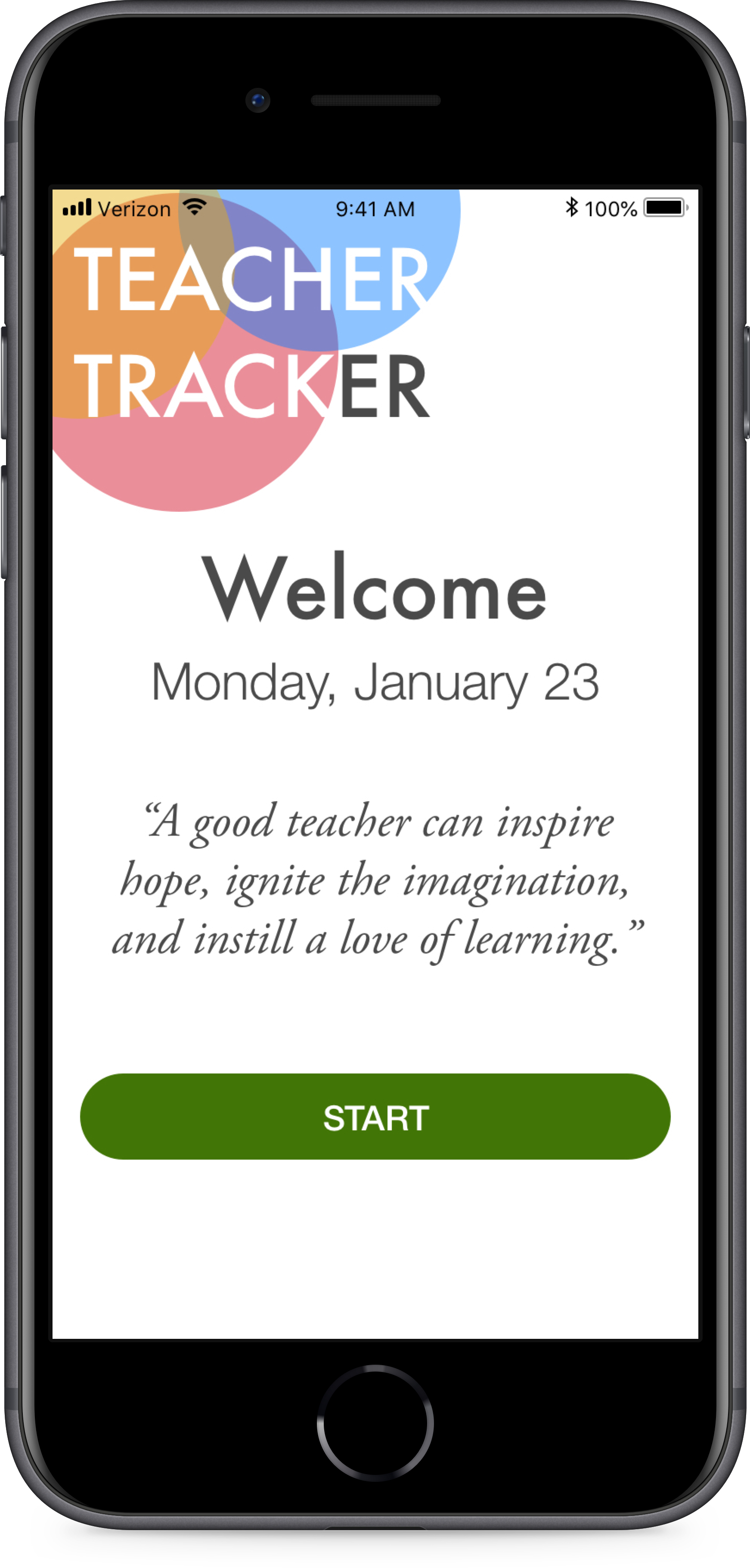 A daily dose of inspiration keeps the teacher inspired and  creates a positive association with the app . This is inspired by the daily calendars many teachers keep on their desks.