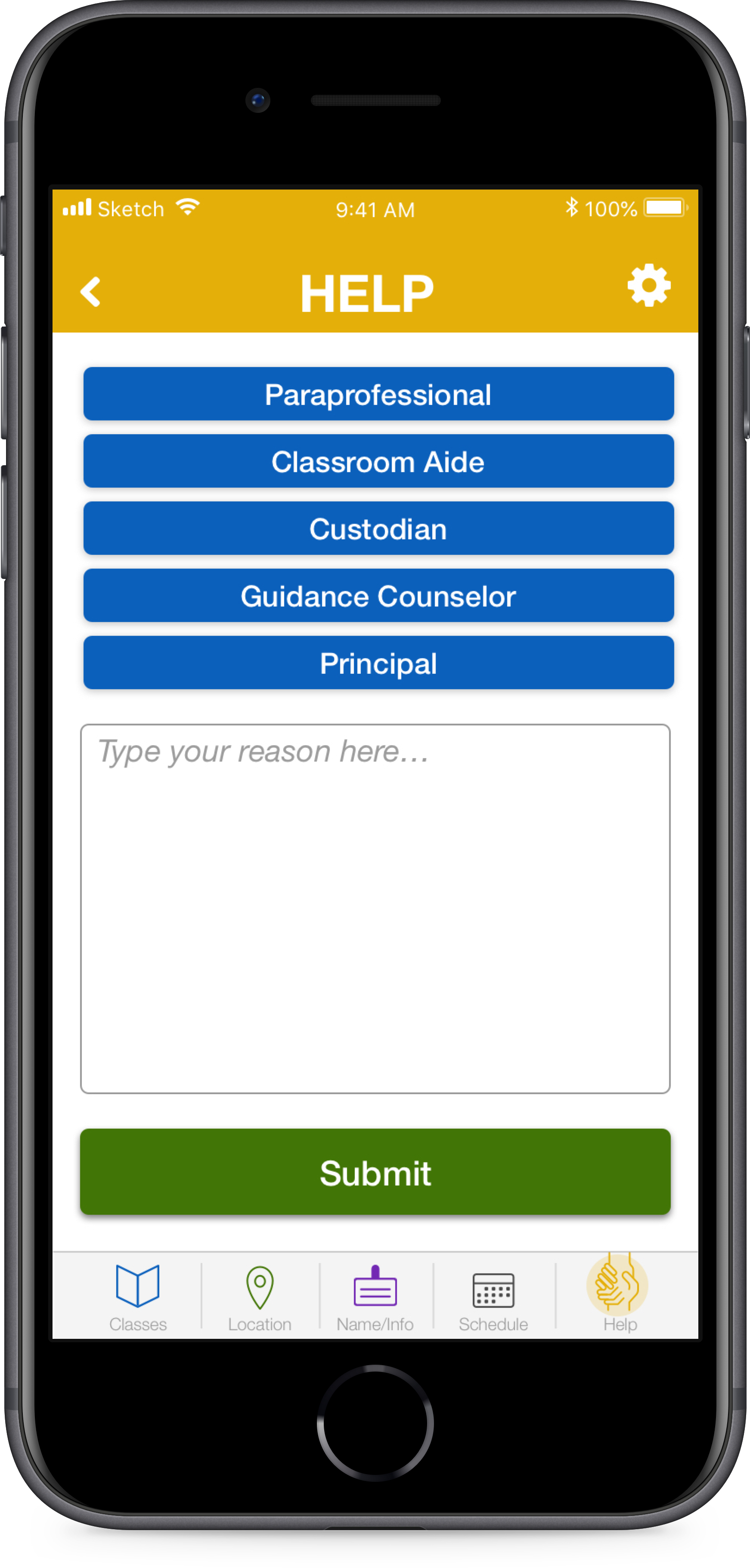 Sometimes  teachers being trapped in their classrooms  with a number of kids and no other adults. TeacherTracker would  give teachers an efficient way of explaining the issue and calling for the appropriate help .