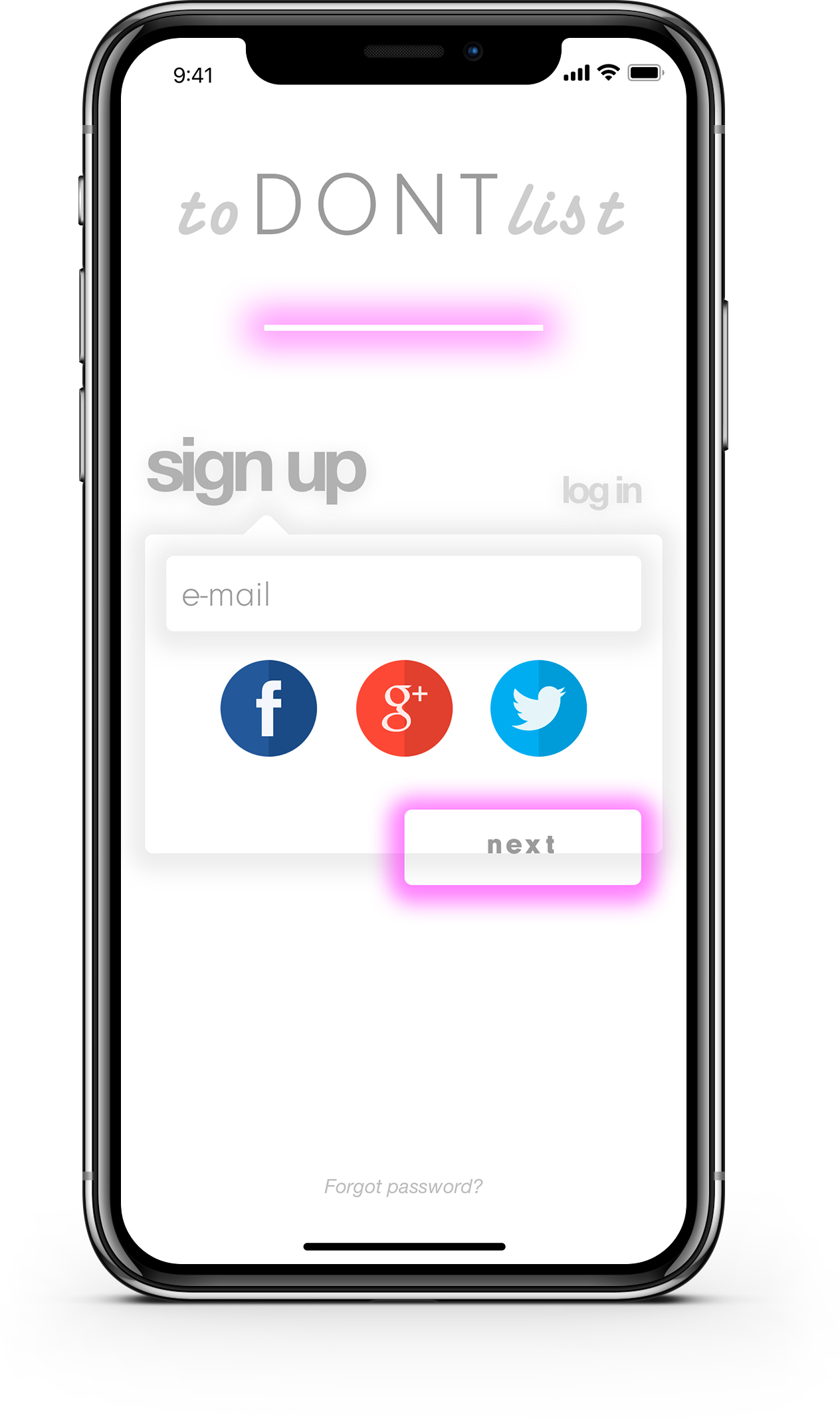 The sign-up flow (as can be seen in the animation below) is  bright and energetic . Many users abandon apps when they realize they have to sign up, but by giving multiple social media options, we hope to reduce that number.