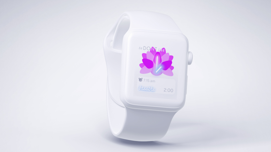 toDONTlist as an Apple Watch Screen allows the user to see the time, check their alarm and use the built-in breathe functionality from the Apple Watch.