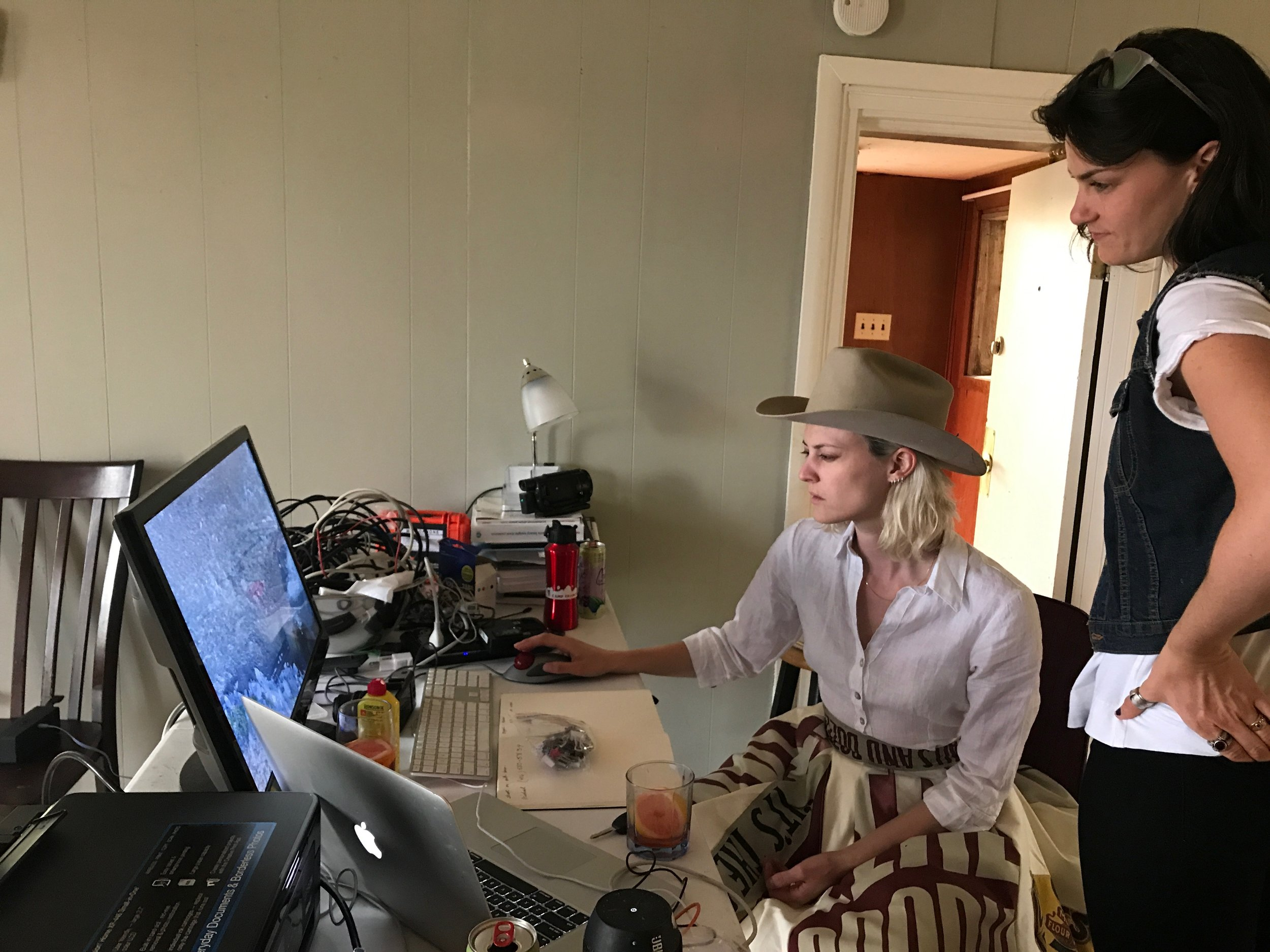 Laine Rettmer and Isabel Beavers in the production office.