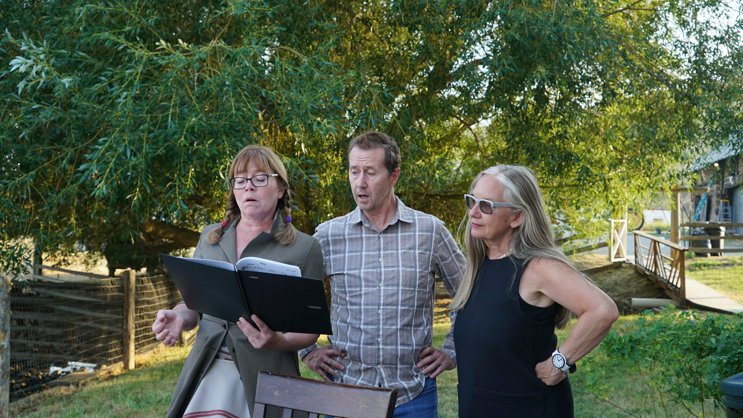 Elizabeth Croy, Gregory Young and Mary Ellen Strom rehearse for Gabriel Canal.